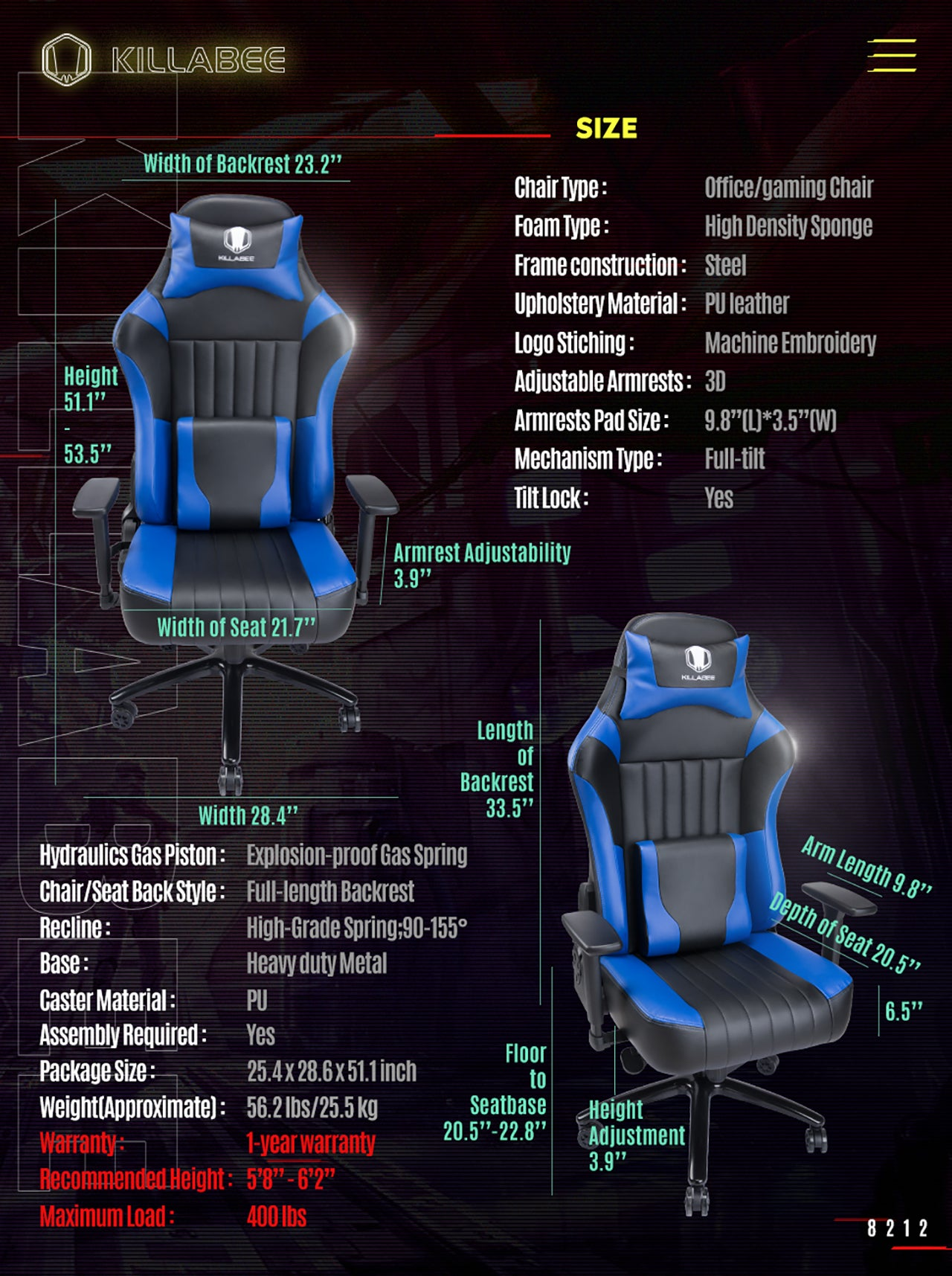 KILLABEE BIG AND TALL GAMING CHAIR 8212 BLUE SPECIFICATION