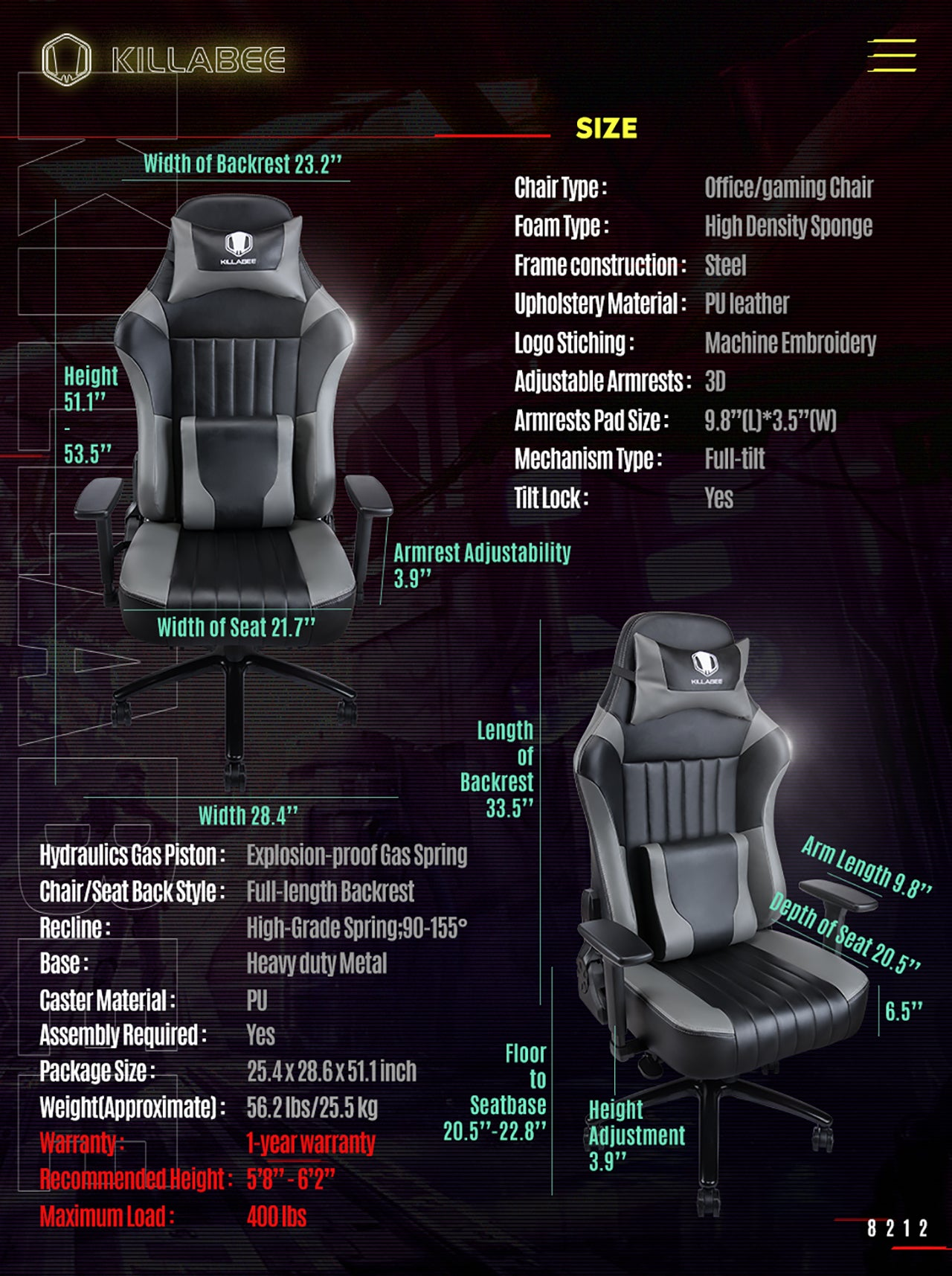 KILLABEE BIG AND TALL GAMING CHAIR 8212 GRAY SPECIFICATION