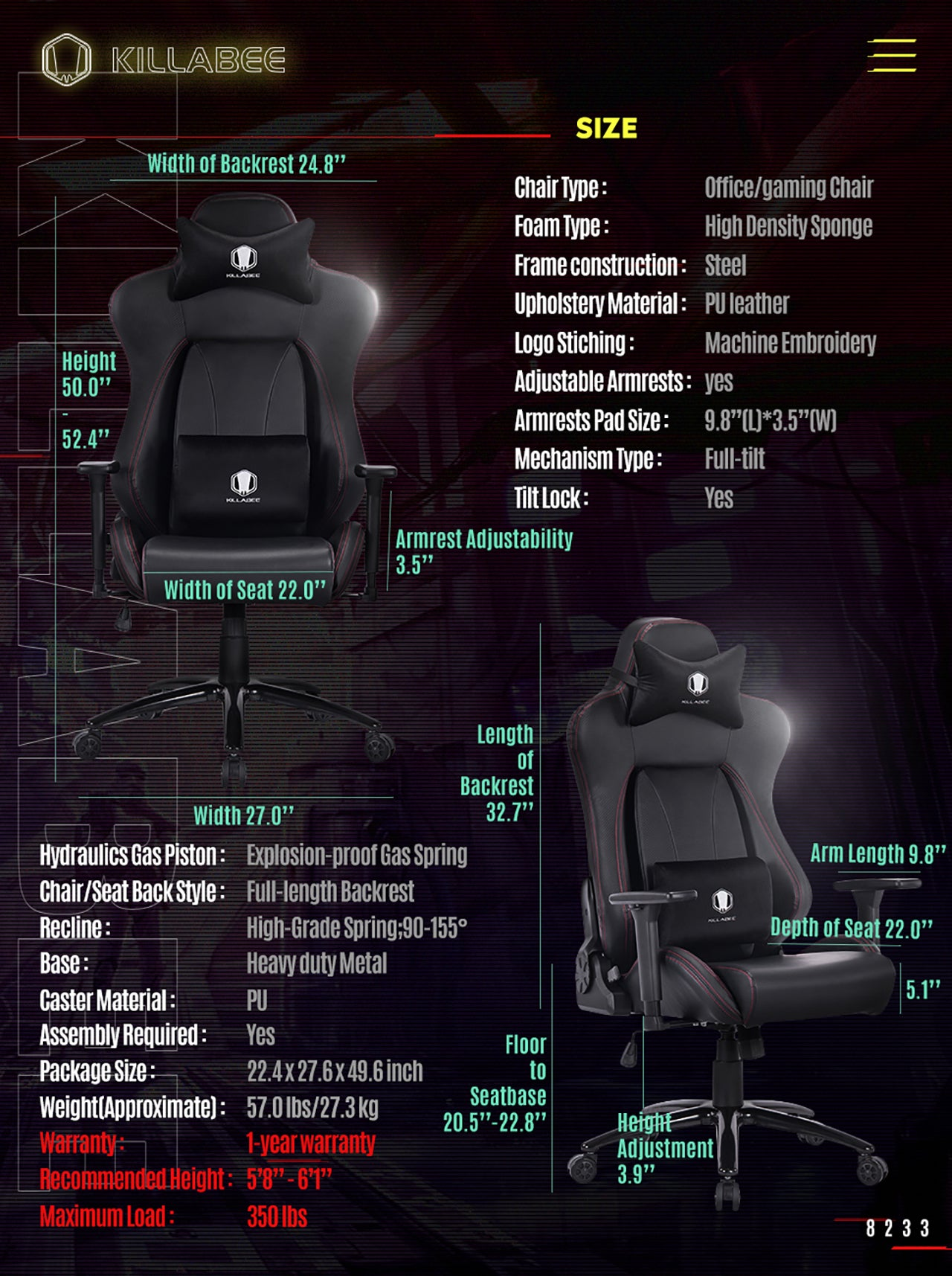 KILLABEE BIG AND TALL GAMING CHAIR 8233 BLACK SPECIFICATION
