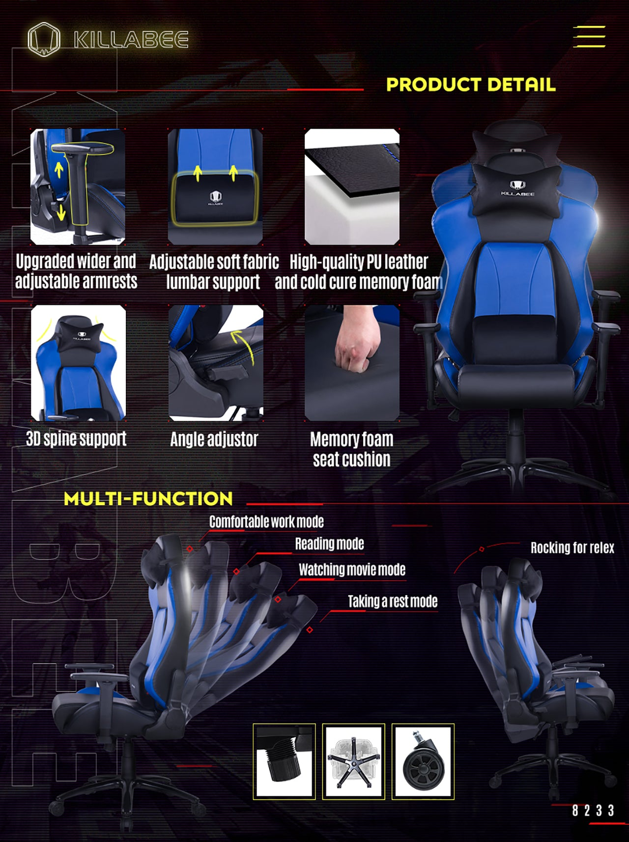 KILLABEE BIG AND TALL GAMING CHAIR 8233 BLUE FEATURES