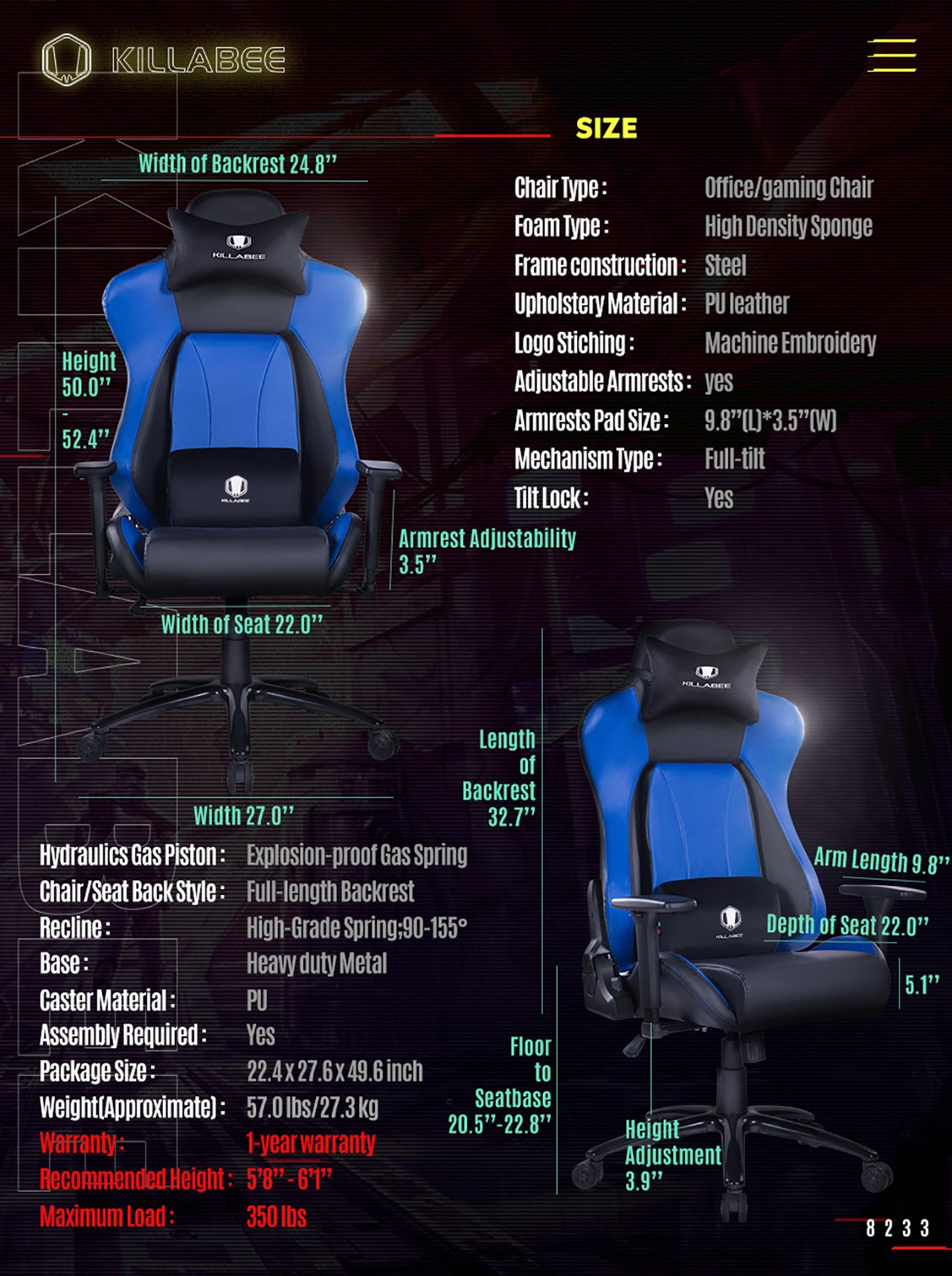 KILLABEE BIG AND TALL GAMING CHAIR 8233 BLUE SPECIFICATION