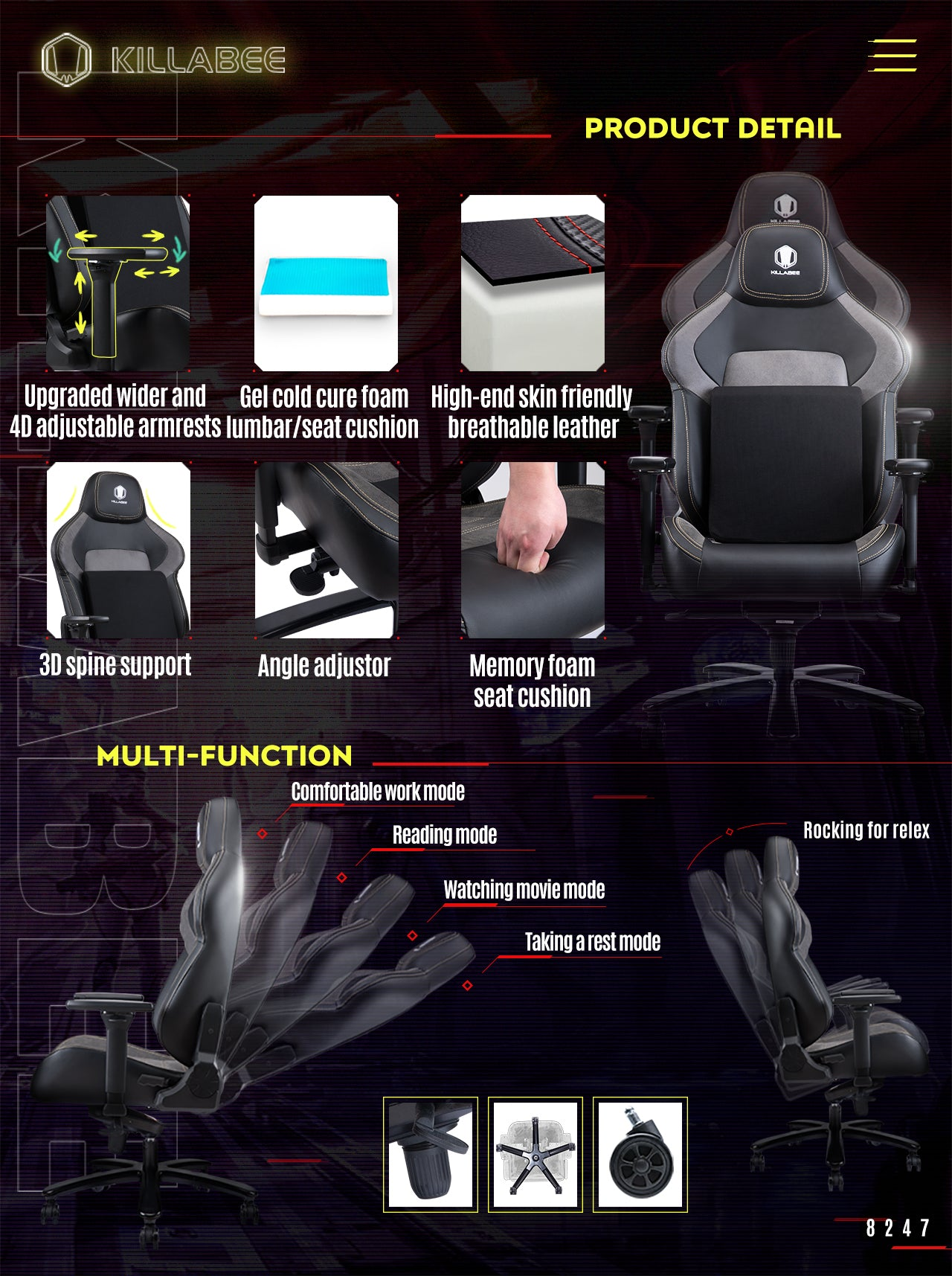 KILLABEE BIG AND TALL GAMING CHAIR 8247 FEATURE