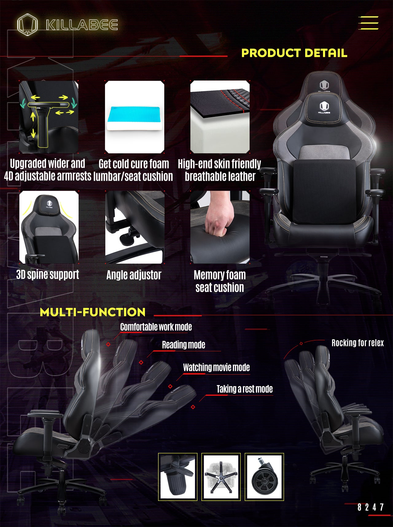 KILLABEE BIG AND TALL GAMING CHAIR 8247 FEATURES