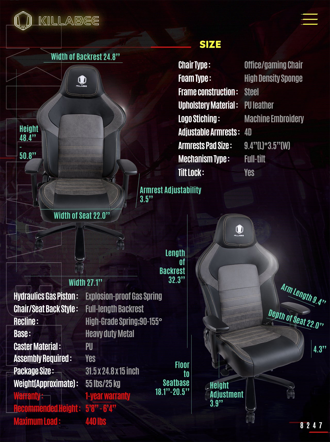KILLABEE BIG AND TALL GAMING CHAIR 8247 SPECIFICATION