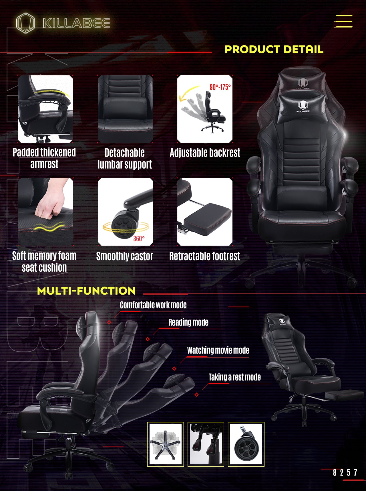 KILLABEE BIG AND TALL GAMING CHAIR 8257 BLACK FEATURES