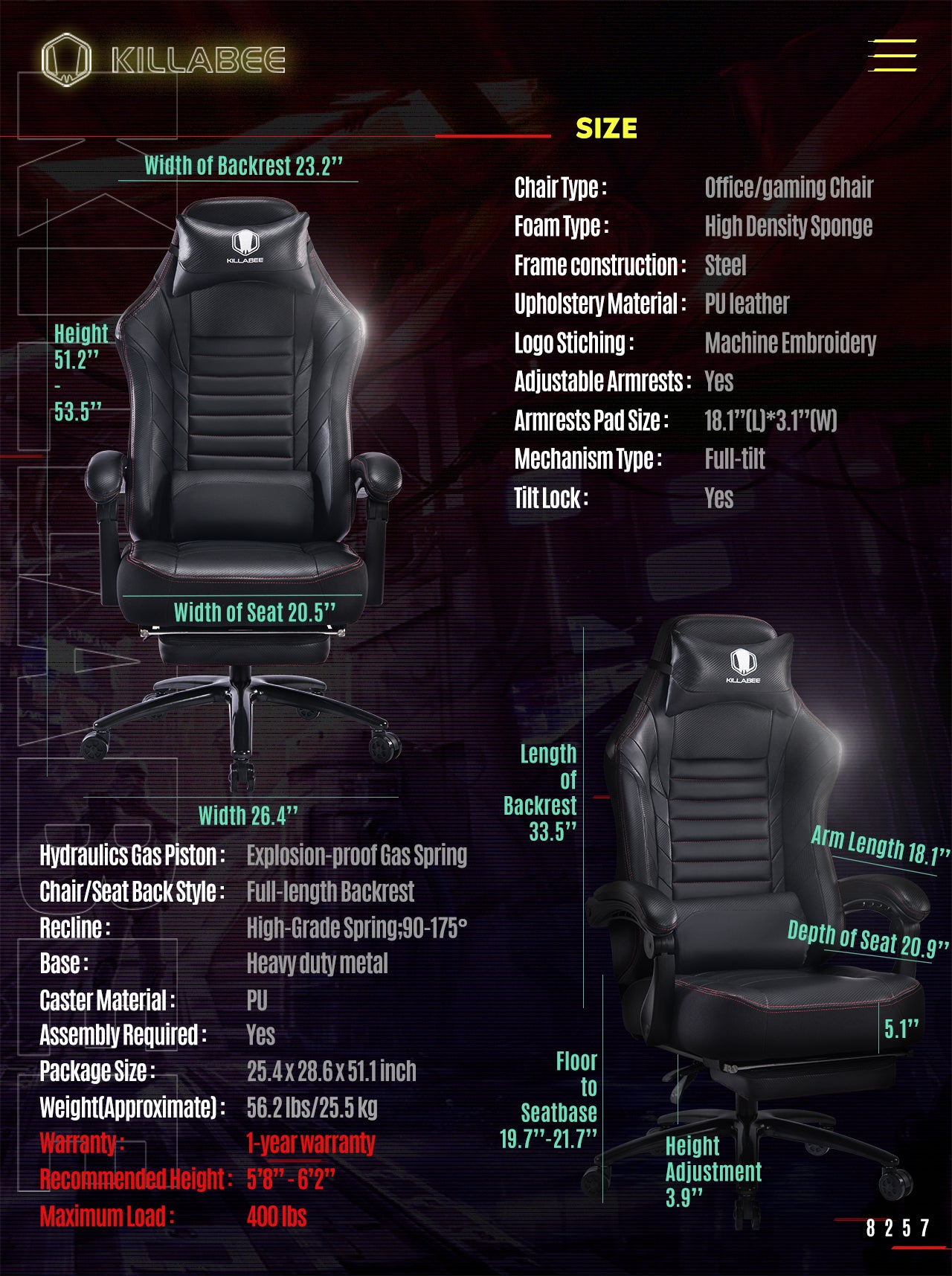 KILLABEE BIG AND TALL GAMING CHAIR 8257 BLACK SPECIFICATION