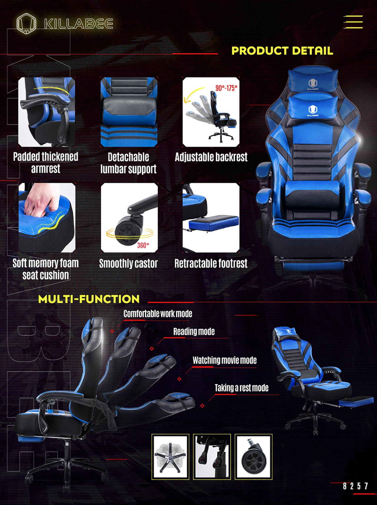 KILLABEE BIG AND TALL GAMING CHAIR 8257 BLUE FEATURES