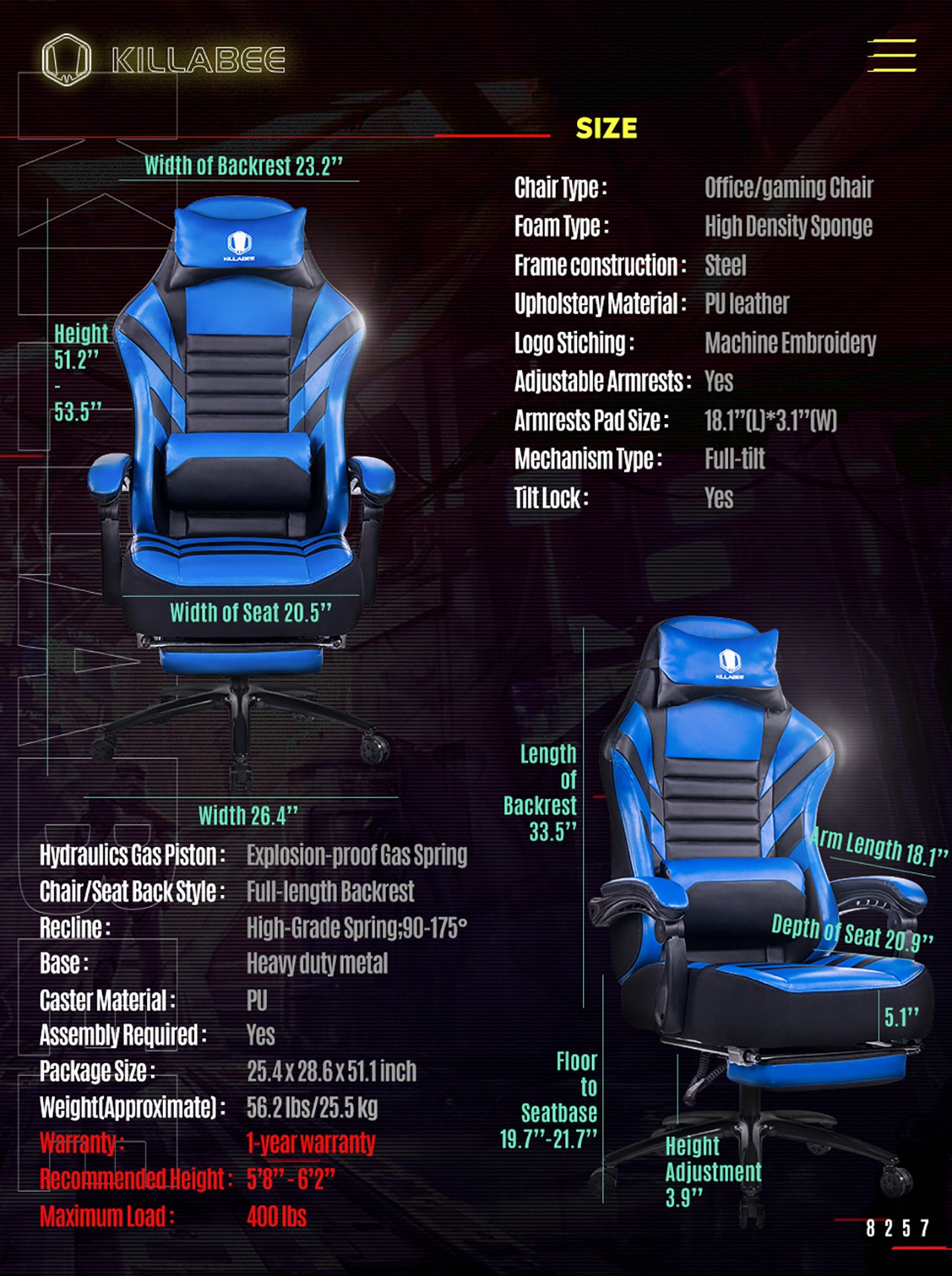 KILLABEE BIG AND TALL GAMING CHAIR 8257 BLUE SPECIFICATION