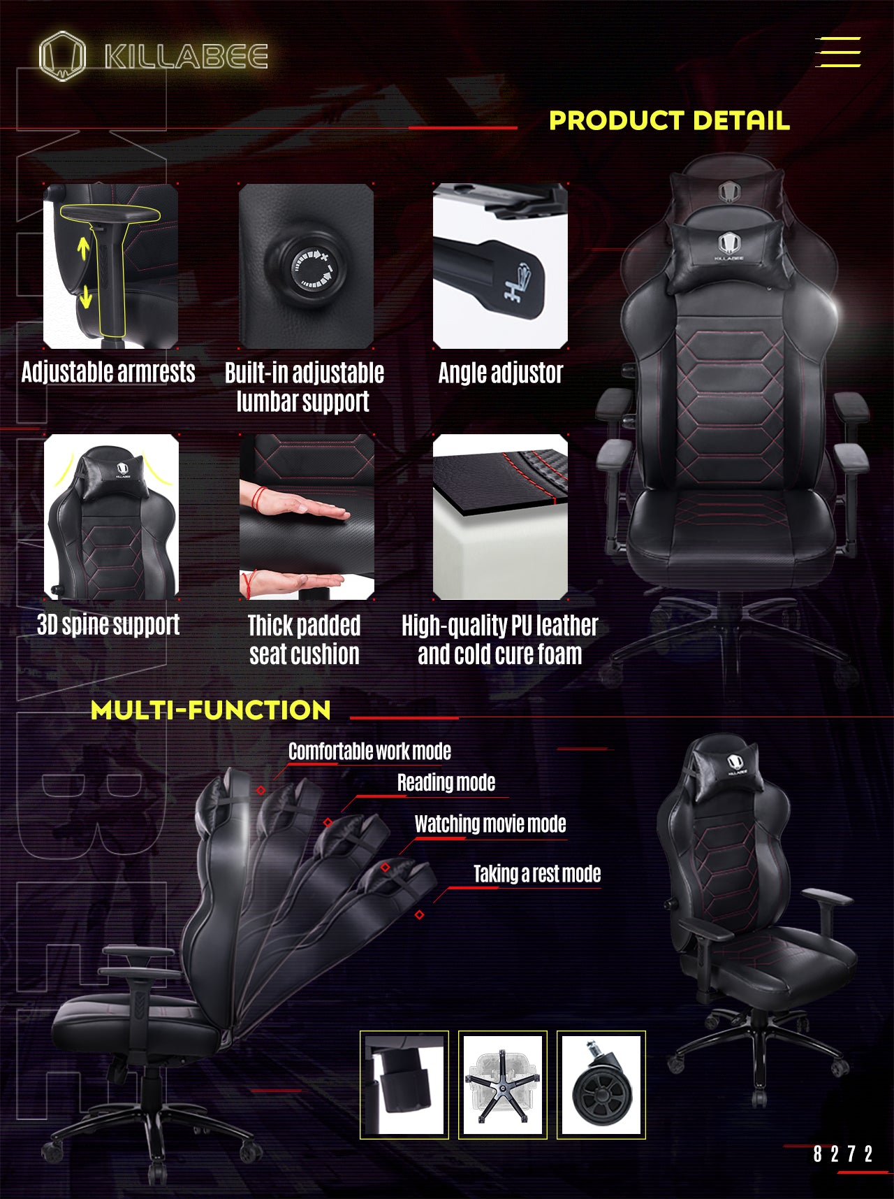 KILLABEE ERGONOMIC GAMING CHAIR 8272 BLACK FEATURES
