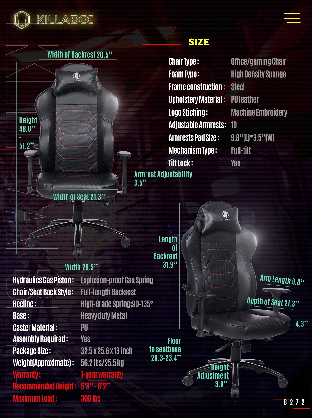 KILLABEE ERGONOMIC GAMING CHAIR 8272 BLACK SPECIFICATION