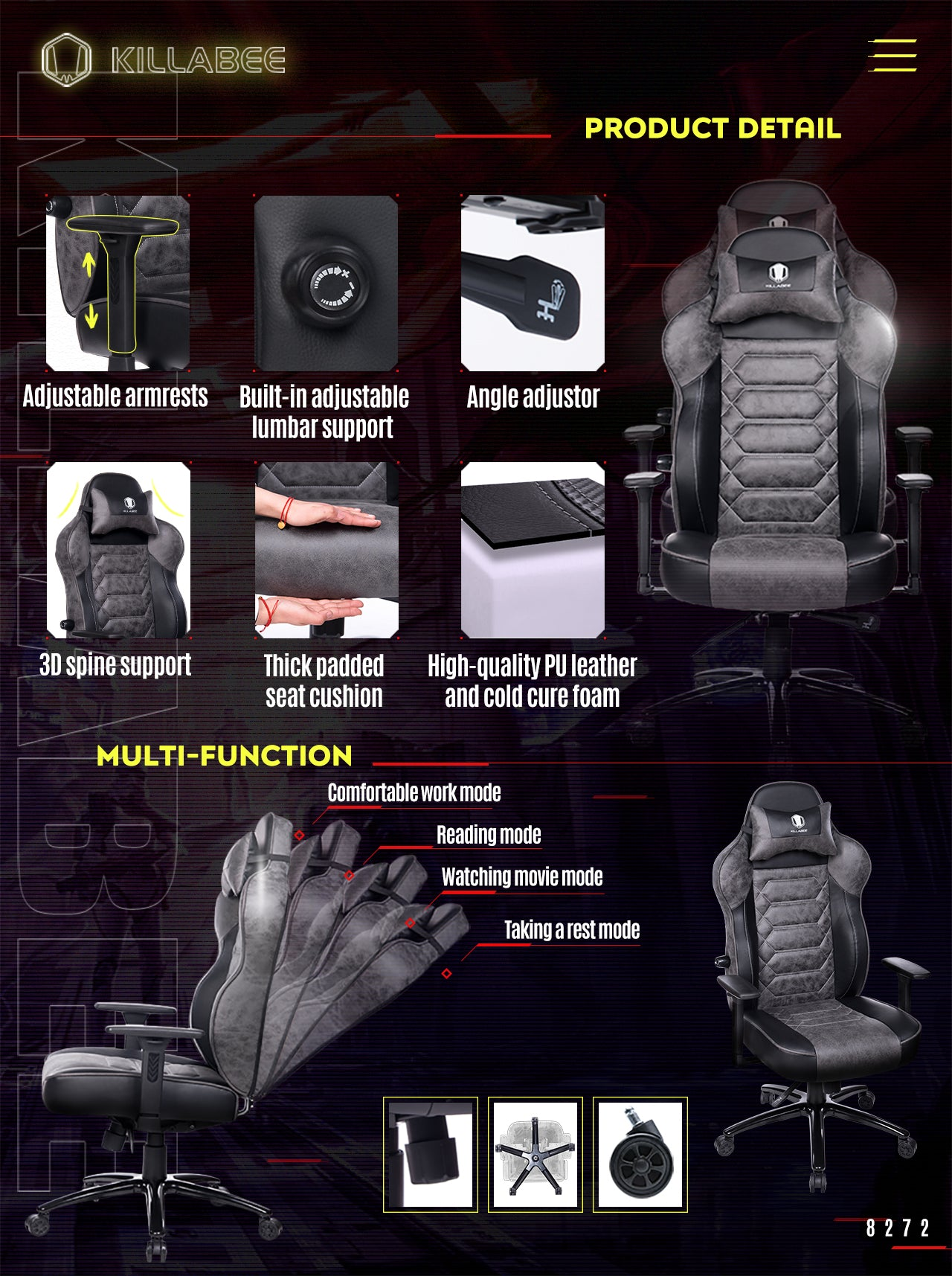 KILLABEE ERGONOMIC GAMING CHAIR 8272 GRAY FEATURES