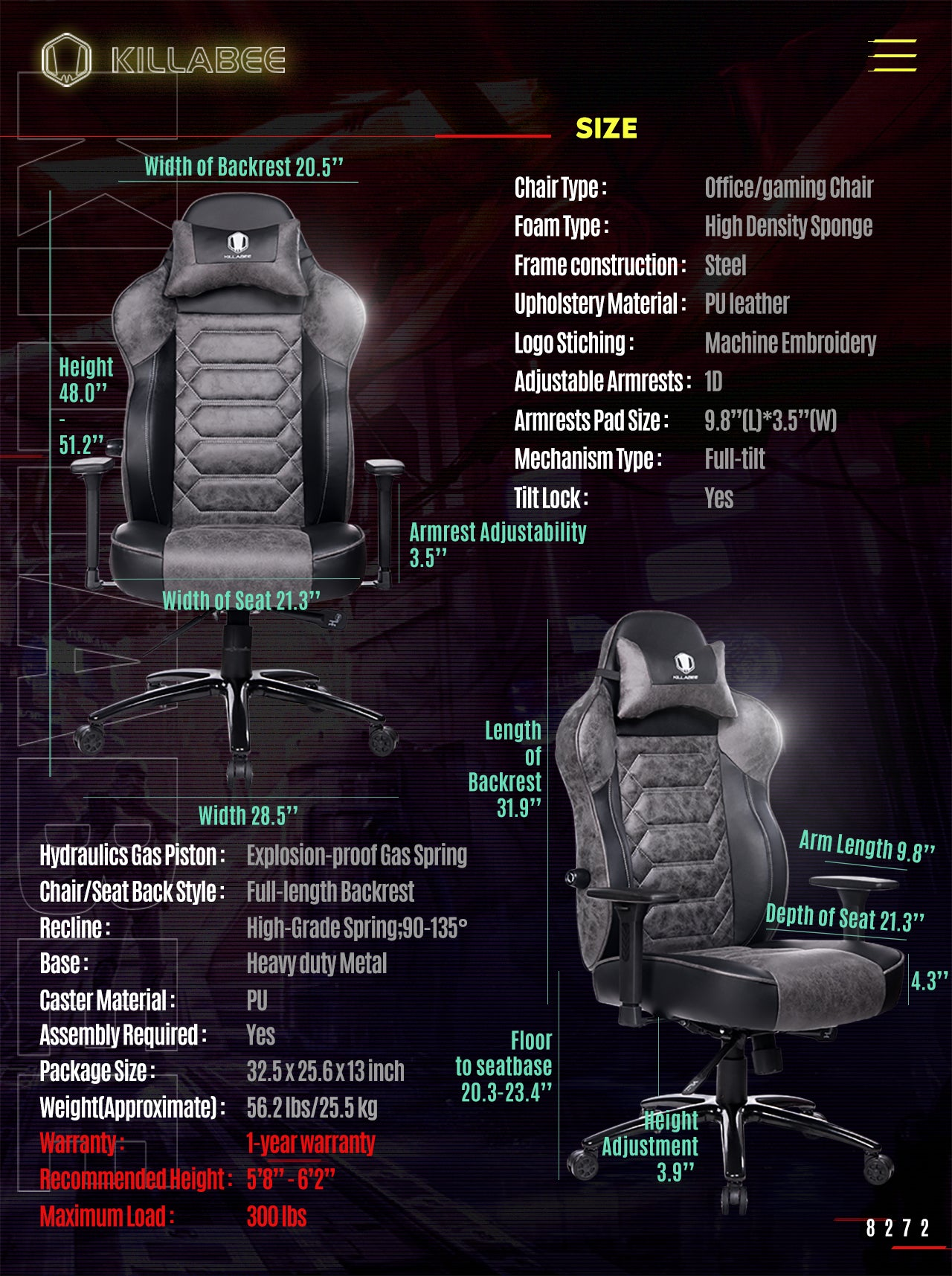 KILLABEE ERGONOMIC GAMING CHAIR 8272 GRAY SPECIFICATION