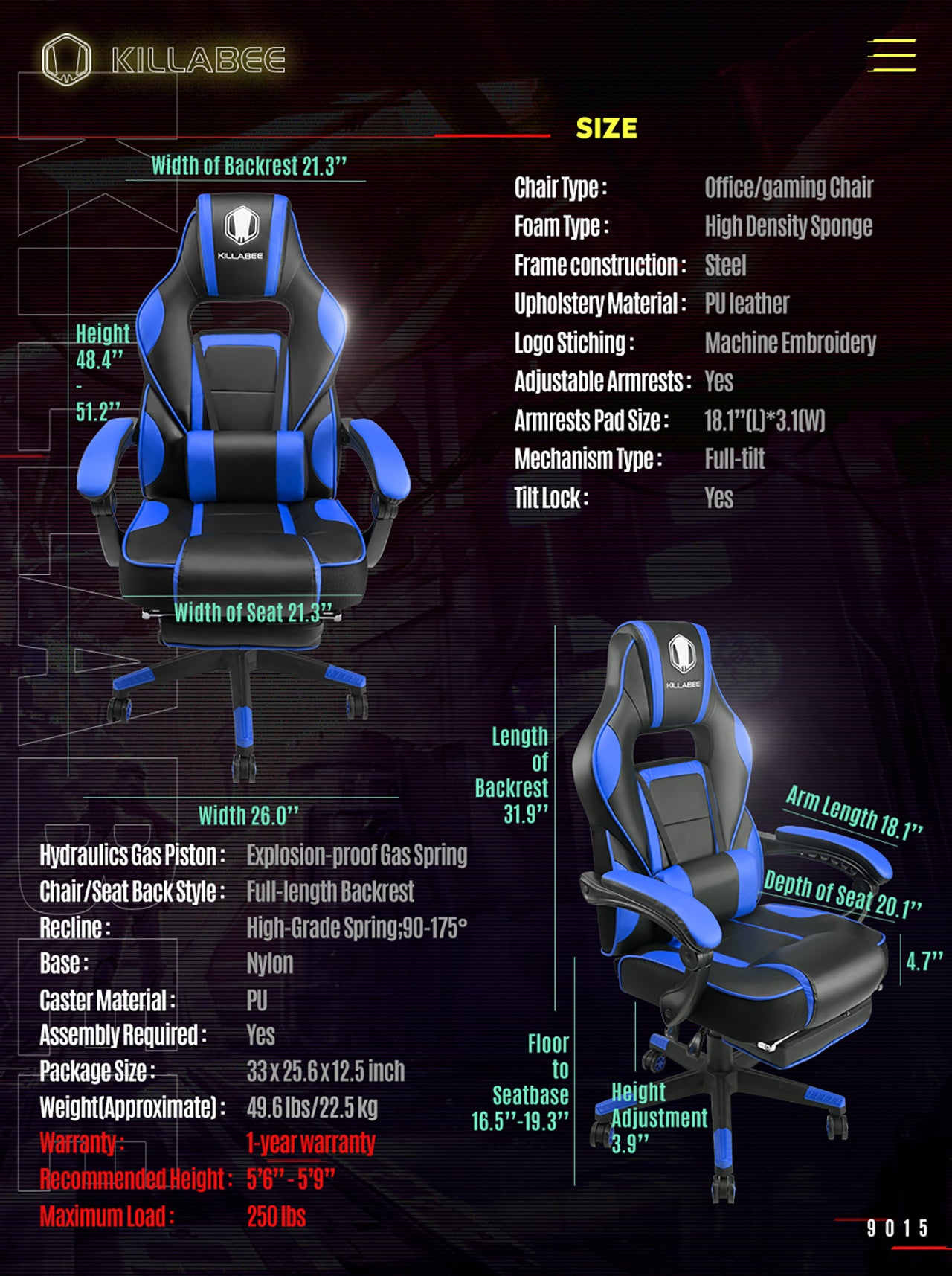 KILLABEE MASSAGE GAMING CHAIR 9015 BLUE SPECIFICATION