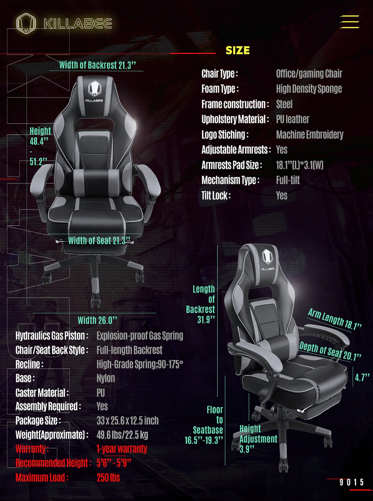 KILLABEE MASSAGE GAMING CHAIR 9015 GRAY SPECIFICATION