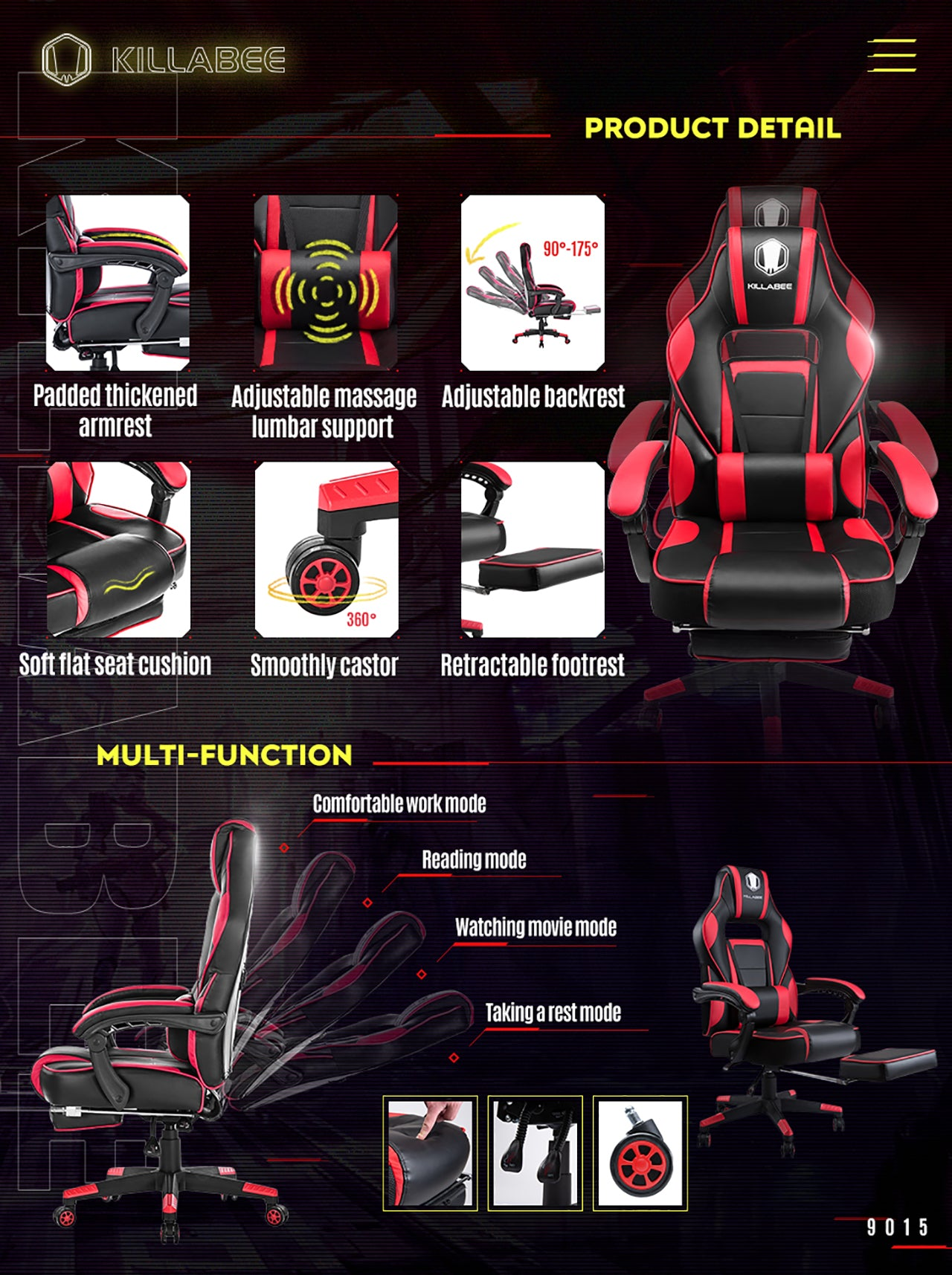 KILLABEE MASSAGE GAMING CHAIR 9015 RED FEATURES