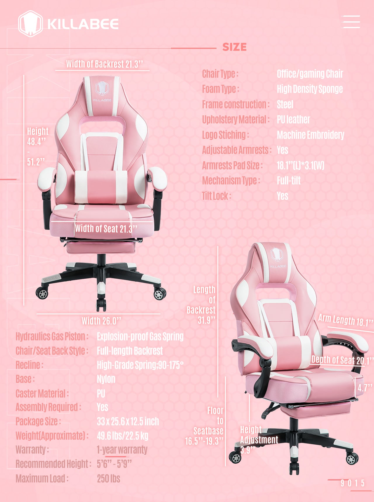 KILLABEE MASSAGE GAMING CHAIR 9015 SERIES PINK GAMING CHAIR FOR GIRL GAMERS