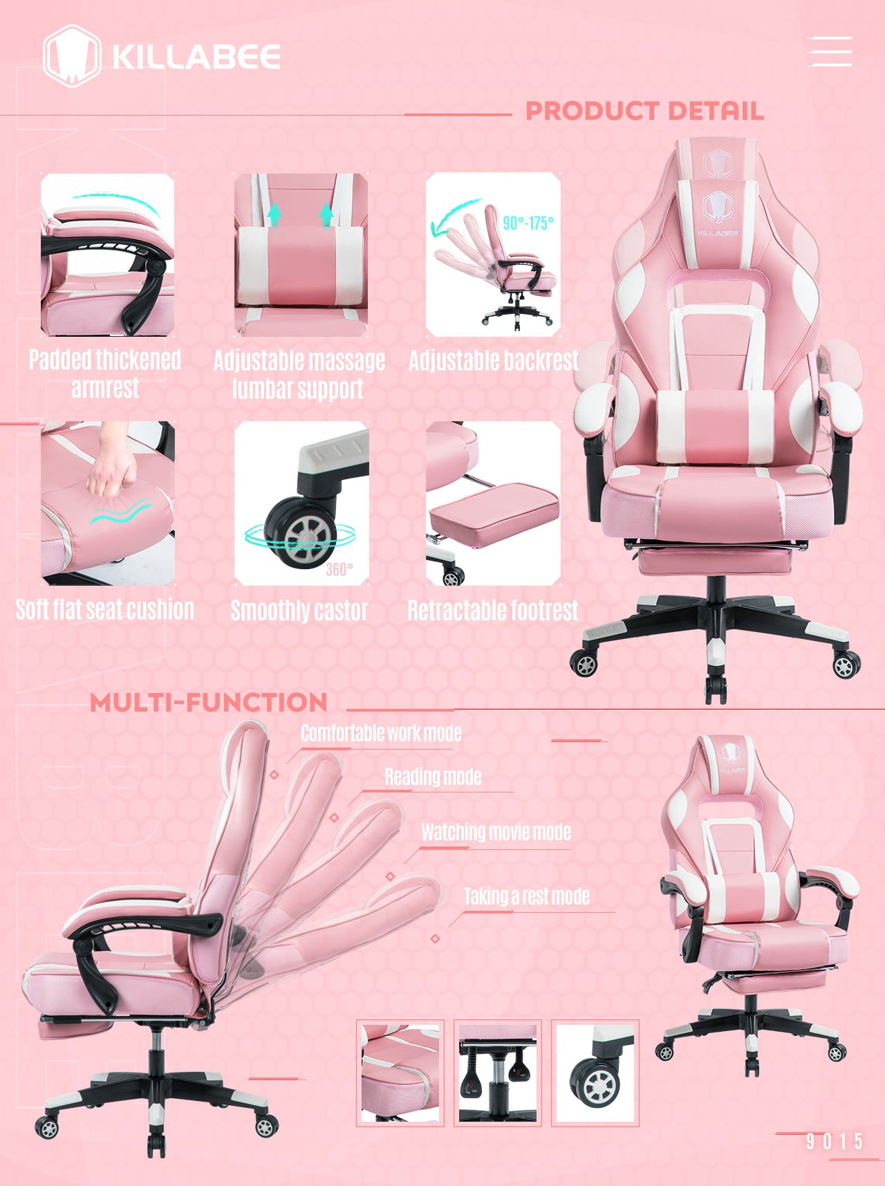 KILLABEE PINK GAMING CHAIR 9015 SERIES WITH MULTIFUNCTIONAL MECHANISM