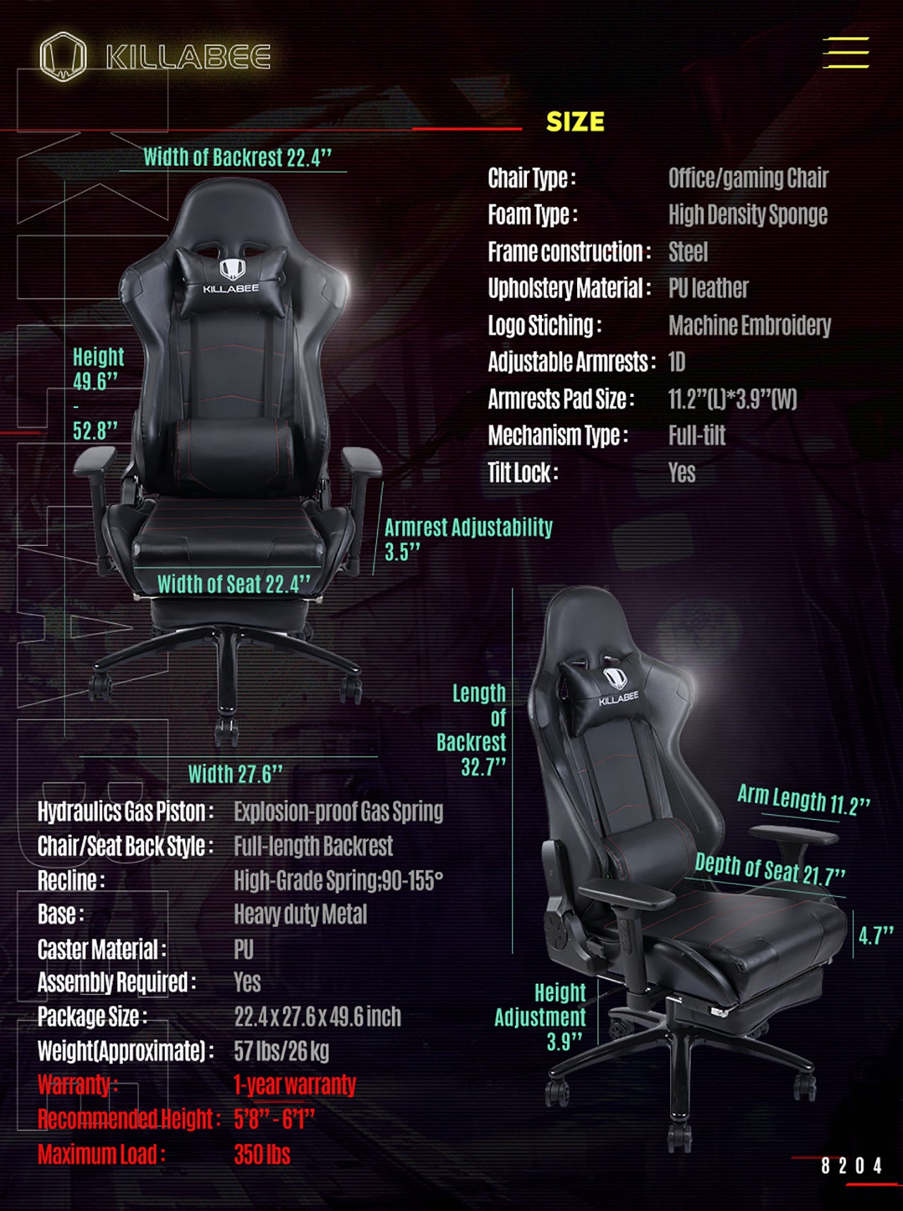 KILLABEE RACING GAMING CHAIR 8204 BLACK SPECIFICATION
