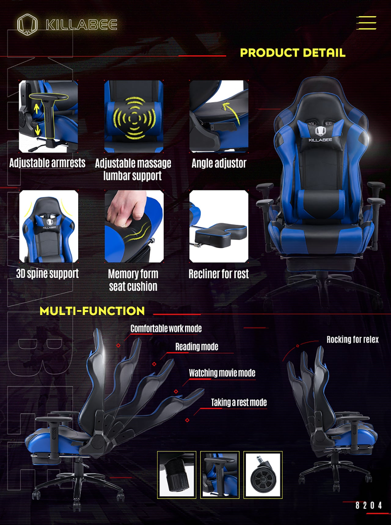 KILLABEE RACING GAMING CHAIR 8204 BLUE FEATURES