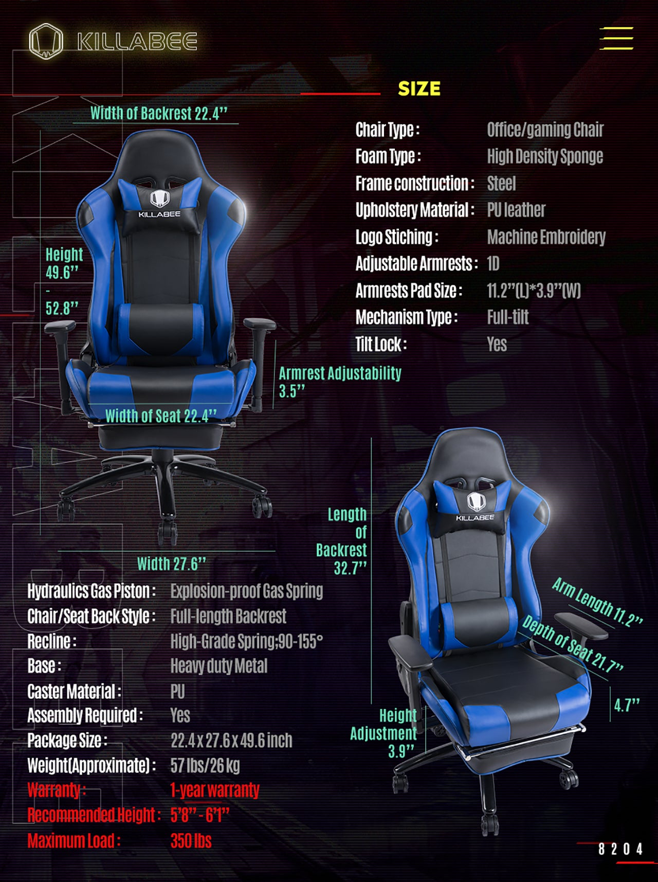 KILLABEE RACING GAMING CHAIR 8204 BLUE SPECIFICATION