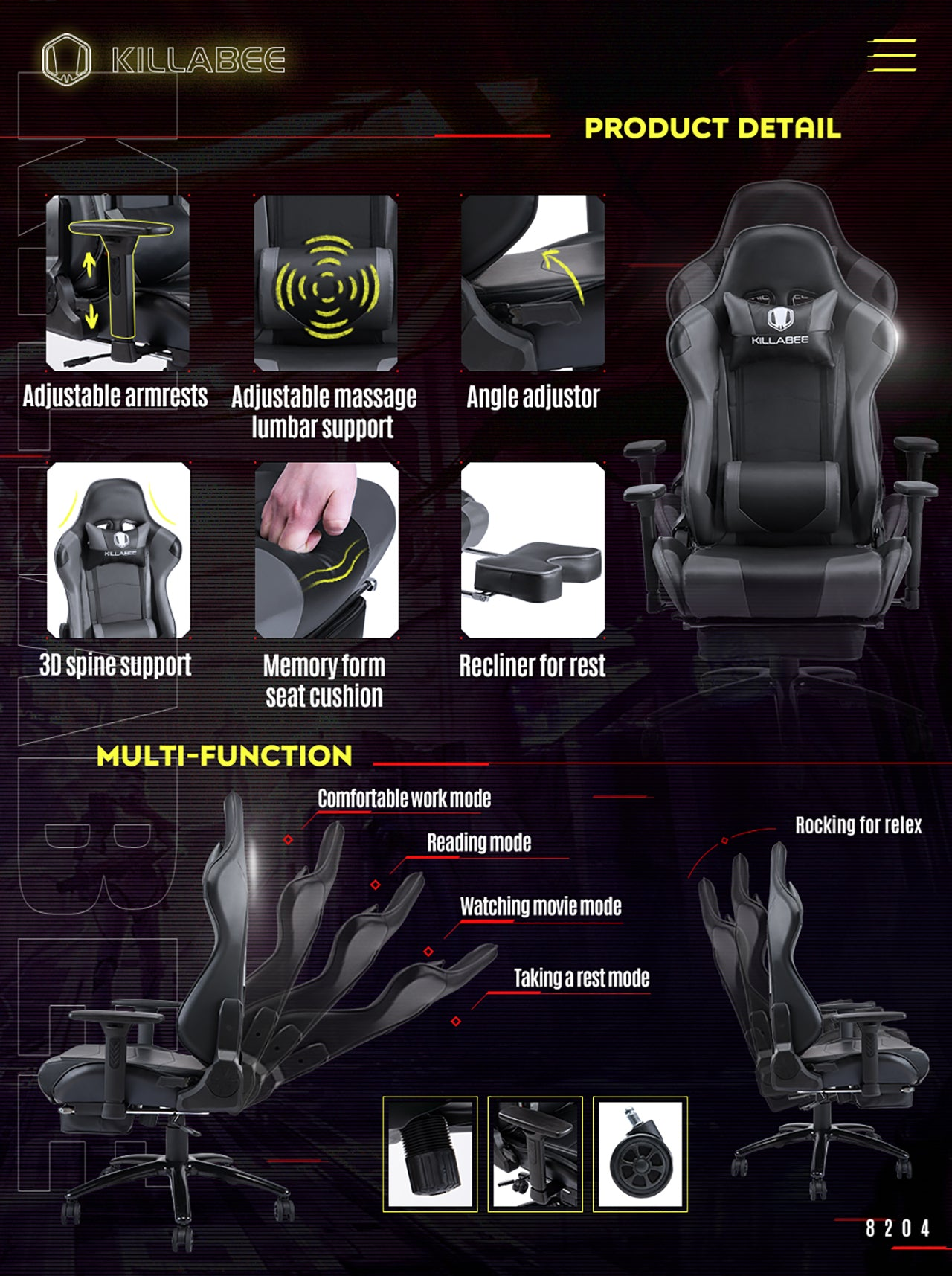 KILLABEE RACING GAMING CHAIR 8204 GRAY FEATURES
