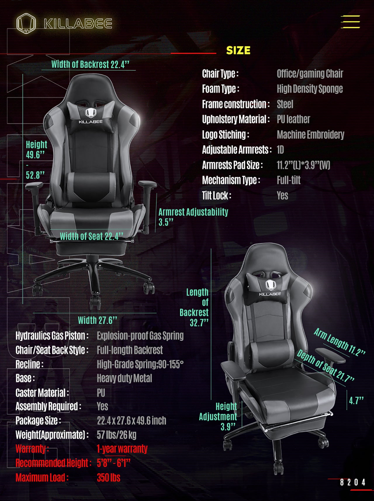 KILLABEE RACING GAMING CHAIR 8204 GTAY SPECIFICATION