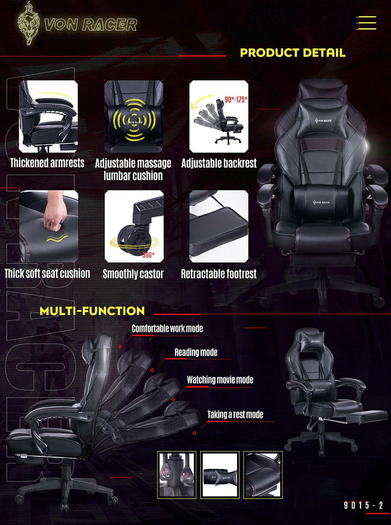 VON RACER 9015 BLACK RECLINING MASSAGE GAMING CHAIR WITH FOOTREST FEATURES