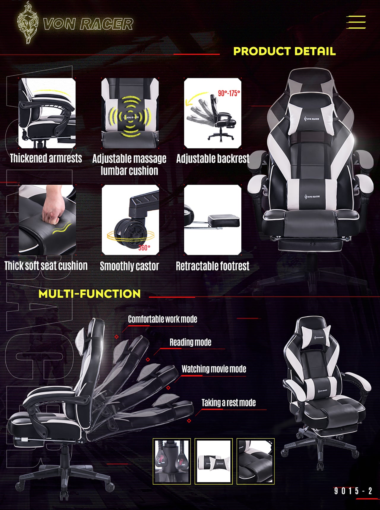 VON RACER 9015 GRAY RECLINING MASSAGE GAMING CHAIR WITH FOOTREST FEATURES