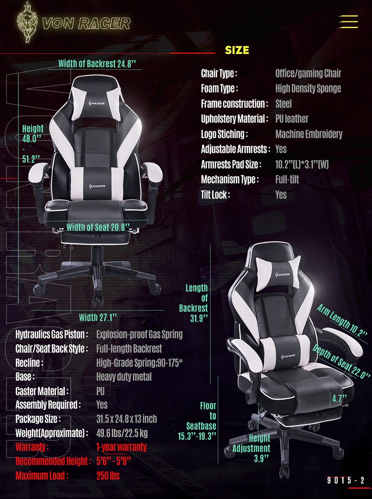 VON RACER 9015 GRAY RECLINING MASSAGE GAMING CHAIR WITH FOOTREST SPECIFICATION
