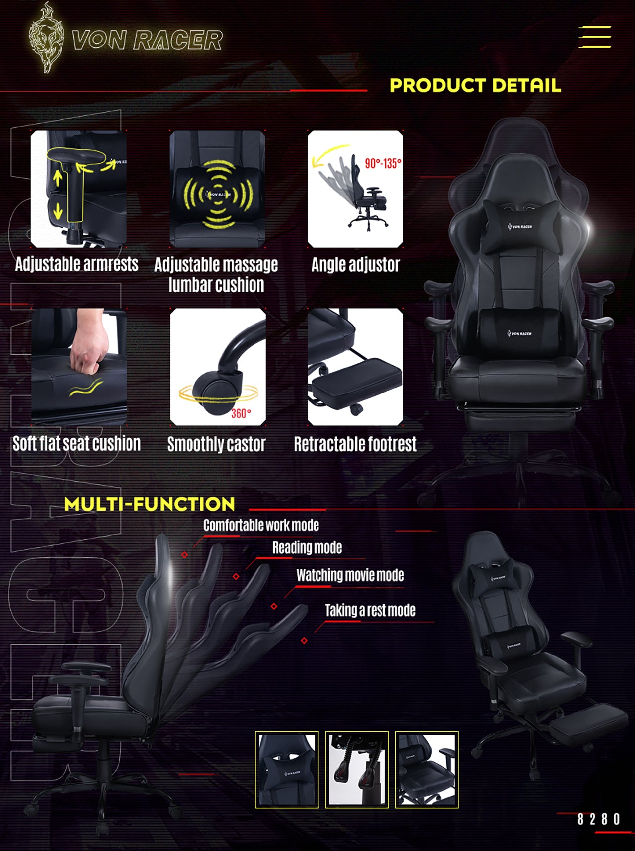 VON RACER ERGONOMIC GAMING CHAIR 8280 BLACK FEATURES