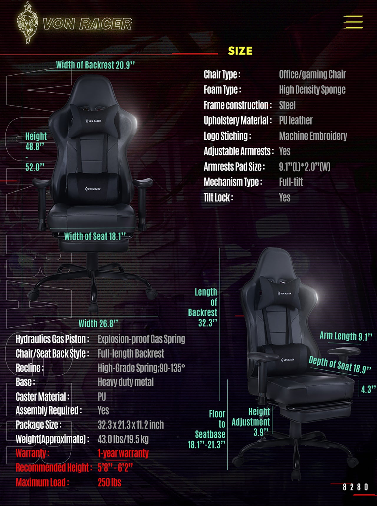 VON RACER ERGONOMIC GAMING CHAIR 8280 BLACK SPECIFICATION