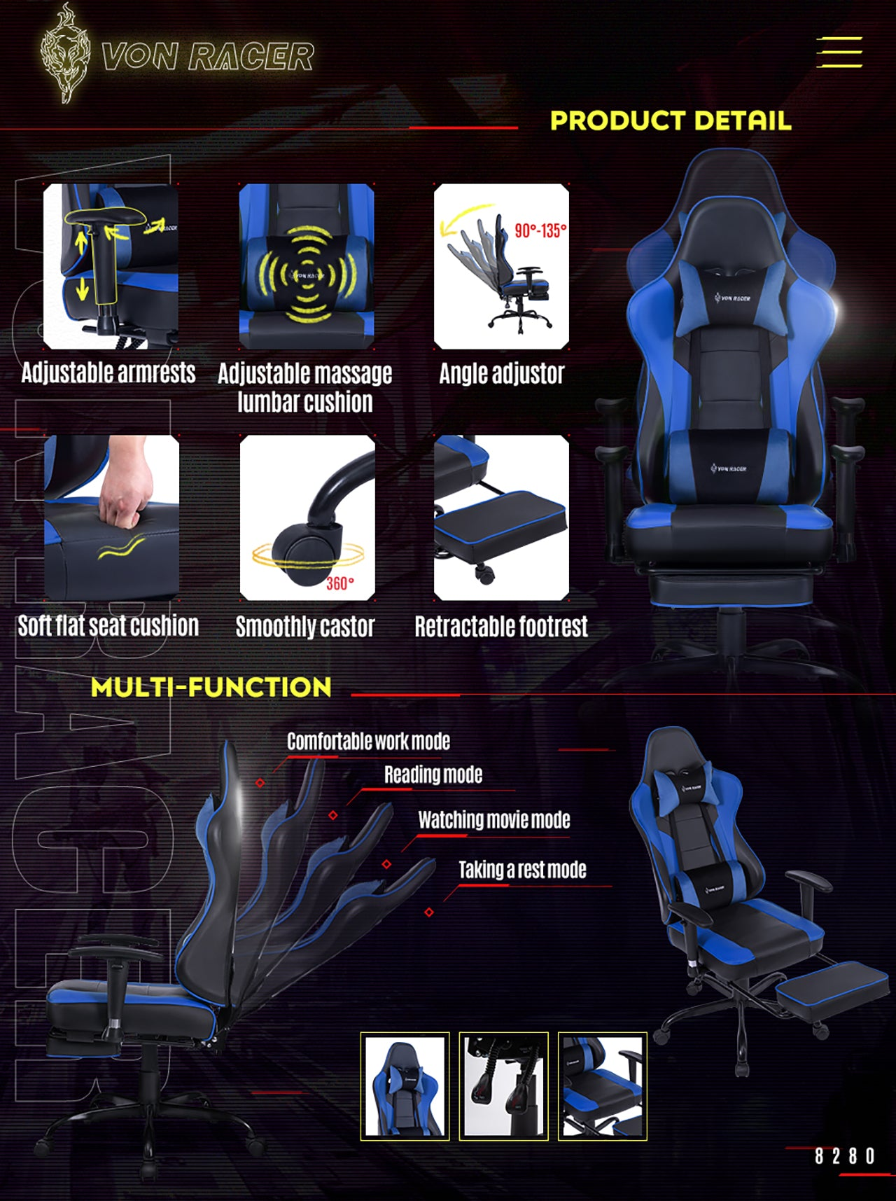 VON RACER ERGONOMIC GAMING CHAIR 8280 BLUE FEATURES