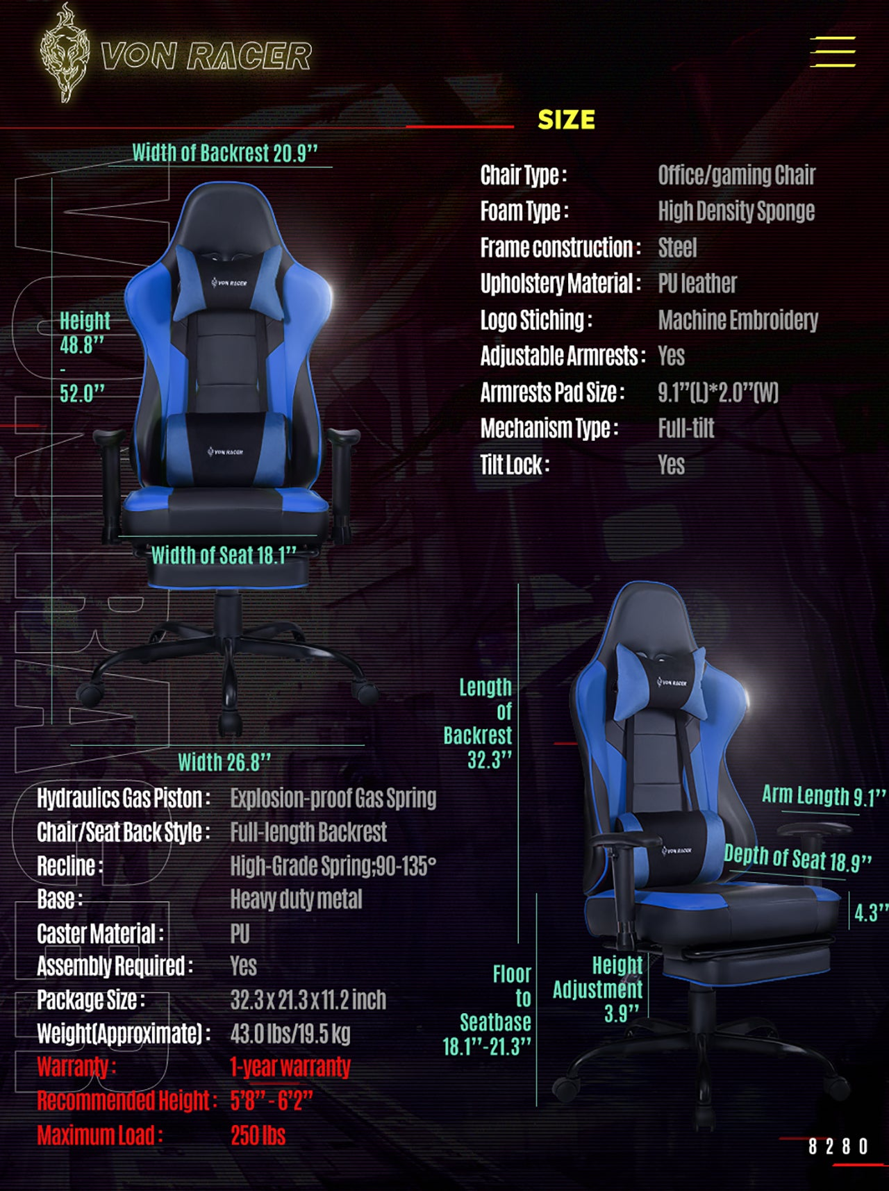 VON RACER ERGONOMIC GAMING CHAIR 8280 BLUE SPECIFICATION