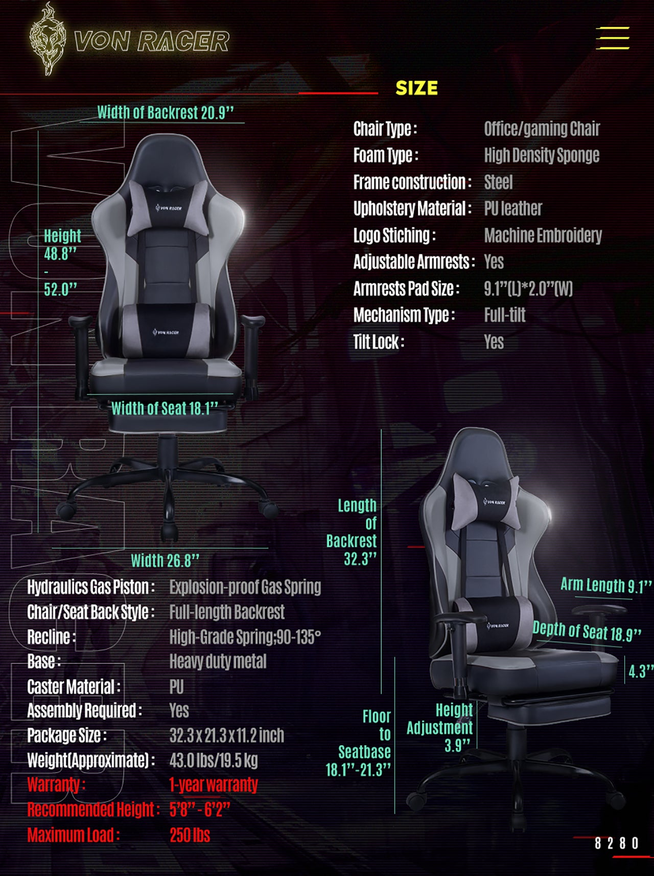 VON RACER ERGONOMIC GAMING CHAIR 8280 GRAY SPECIFICATION