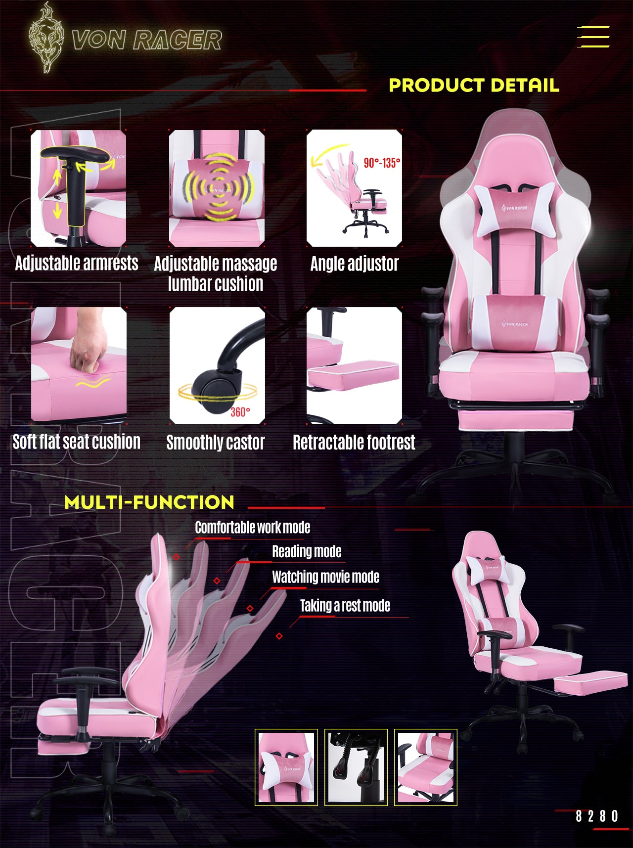 VON RACER ERGONOMIC GAMING CHAIR 8280 PINK FEATURES