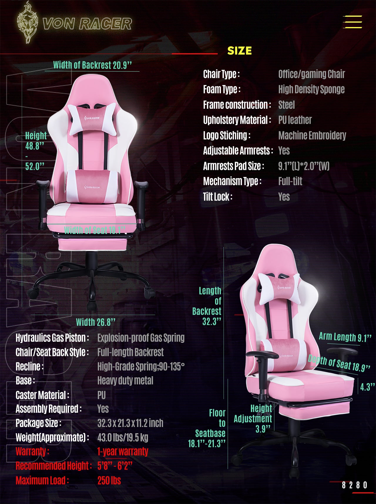 VON RACER ERGONOMIC GAMING CHAIR 8280 PINK SPECIFICATION