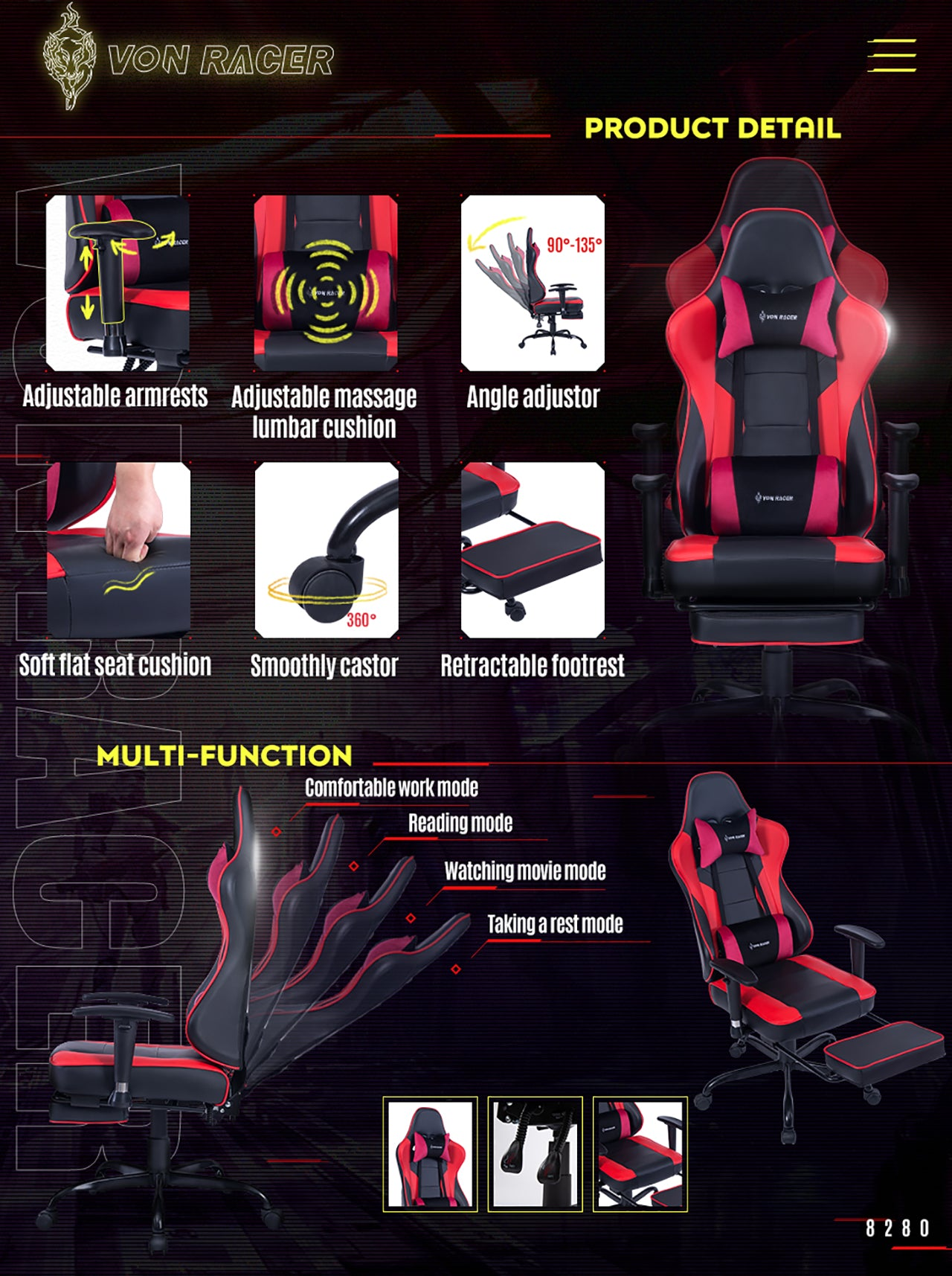 VON RACER ERGONOMIC GAMING CHAIR 8280 RED FEATURES