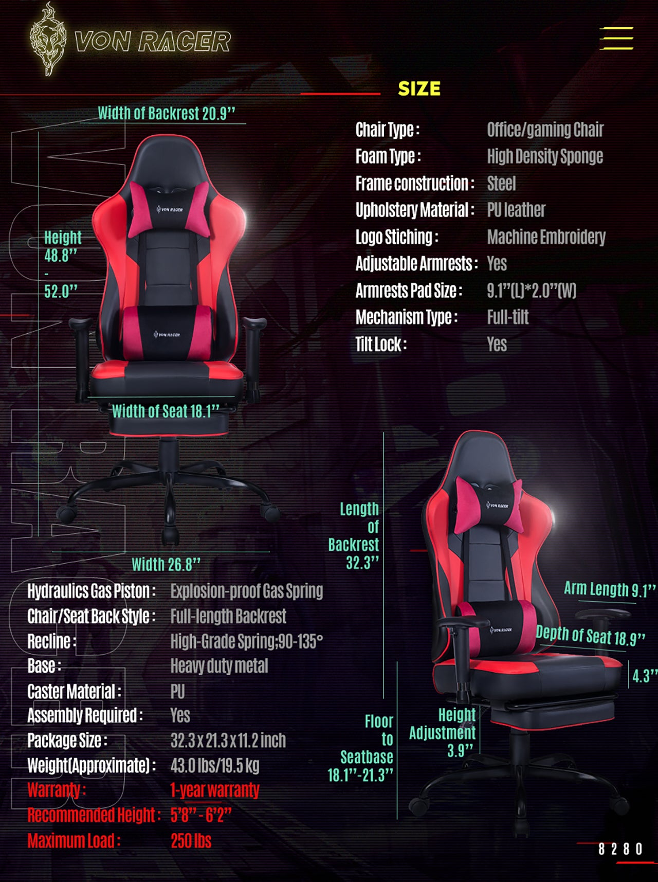 VON RACER ERGONOMIC GAMING CHAIR 8280 RED SPECIFICATION