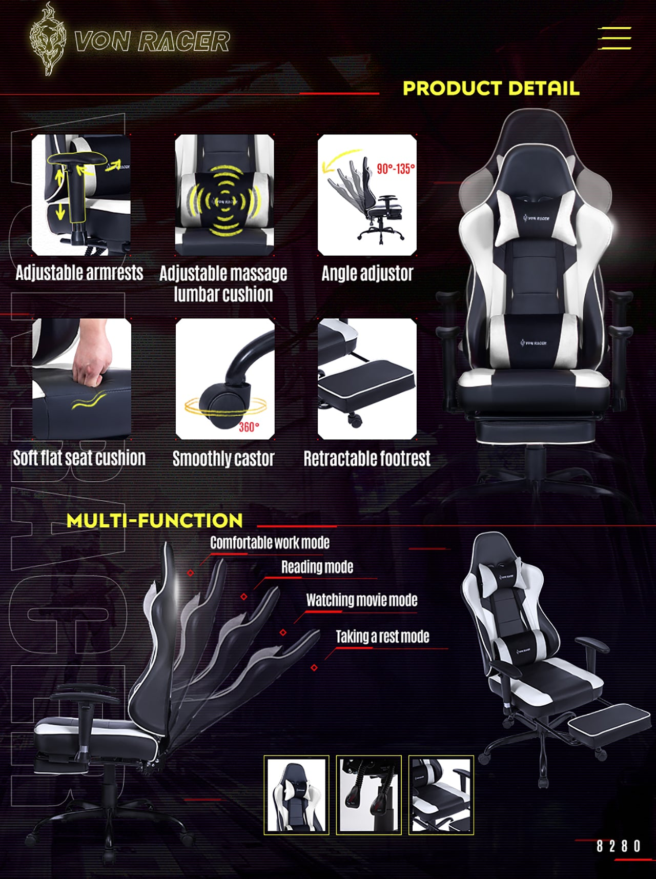VON RACER ERGONOMIC GAMING CHAIR 8280 WHITE FEATURES