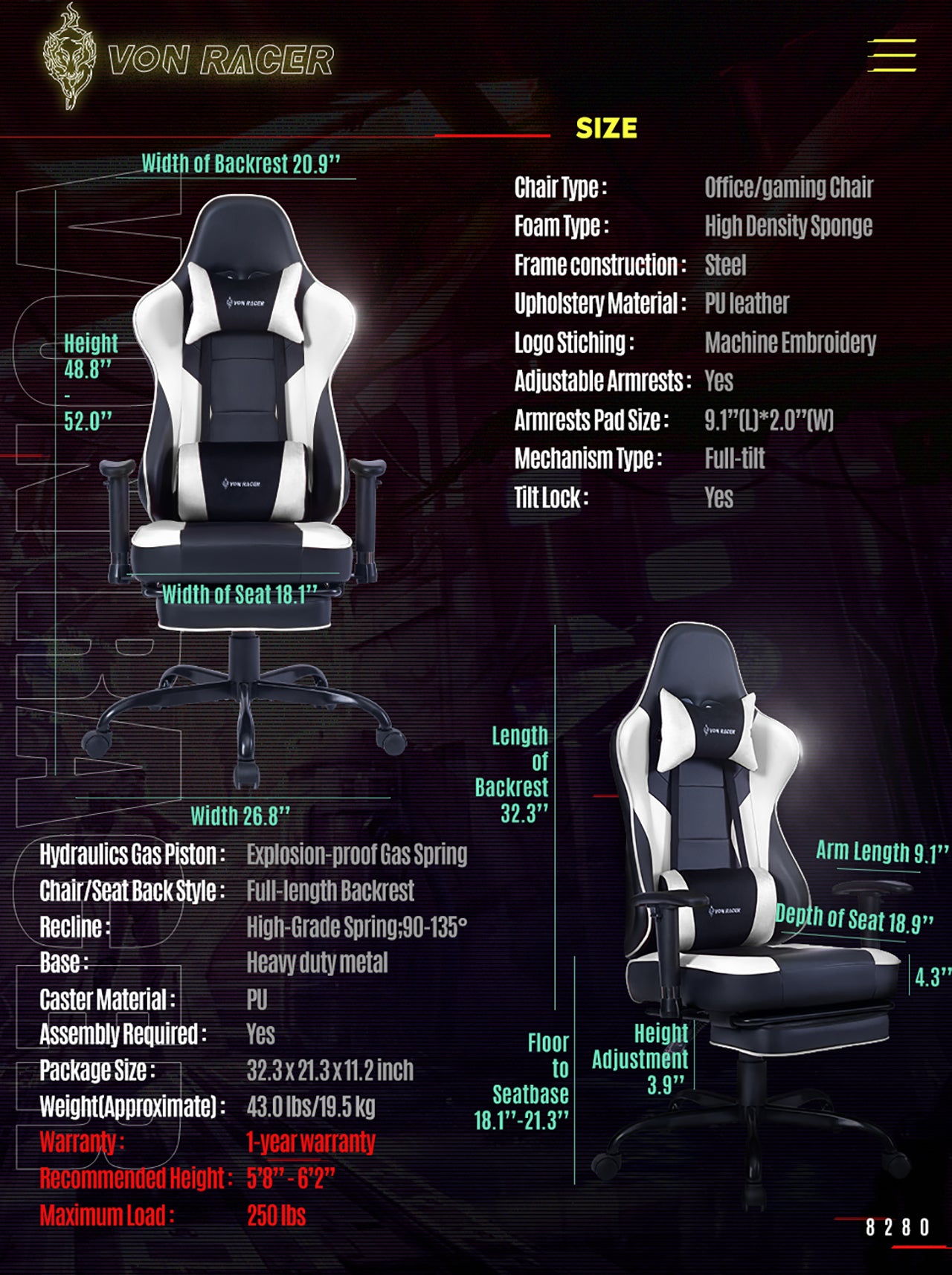 VON RACER ERGONOMIC GAMING CHAIR 8280 WHITE SPECIFICATION