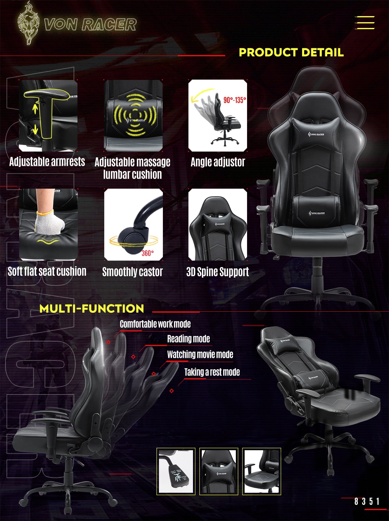 VON RACER Gaming Chair ADDAX Series Ergonomic black gaming desk chair features