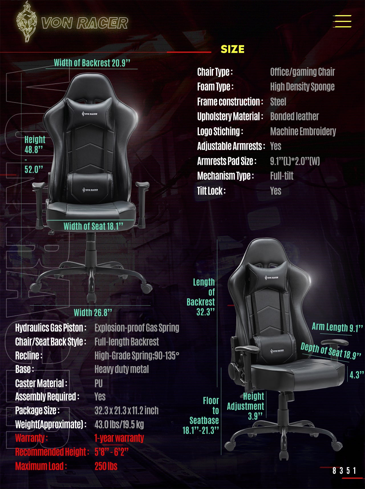 VON RACER Gaming Chair ADDAX Series Ergonomic black gaming desk chair specification