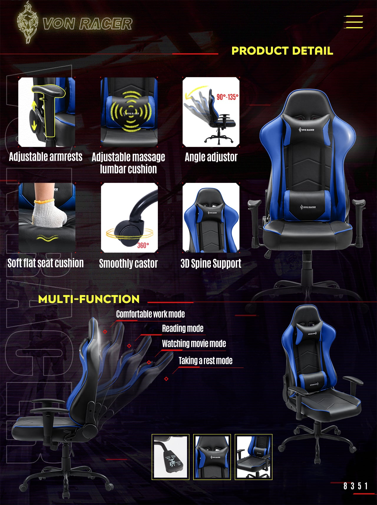 VON RACER Gaming Chair ADDAX Series Ergonomic blue gaming desk chair features