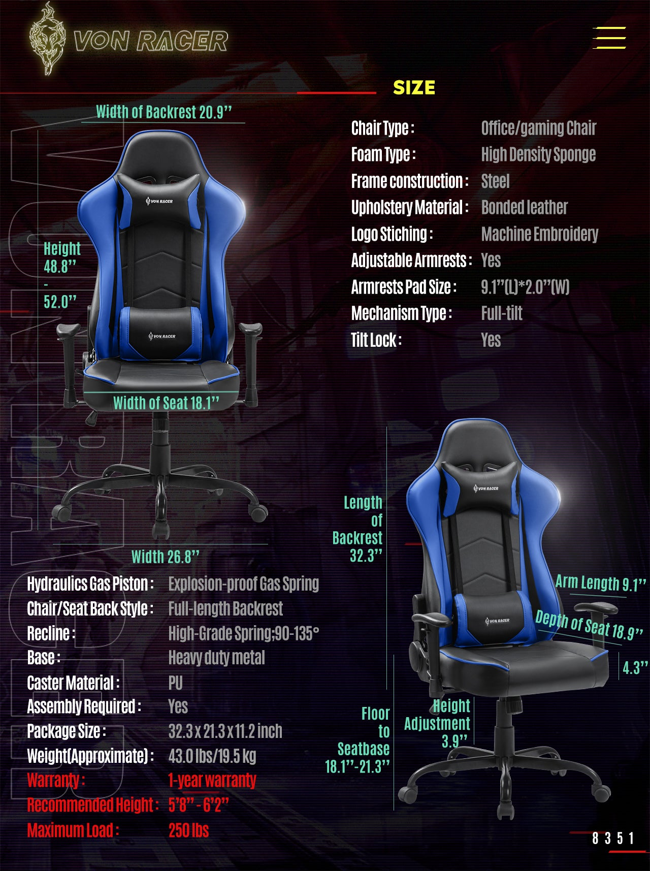 VON RACER Gaming Chair ADDAX Series Ergonomic blue gaming desk chair specification