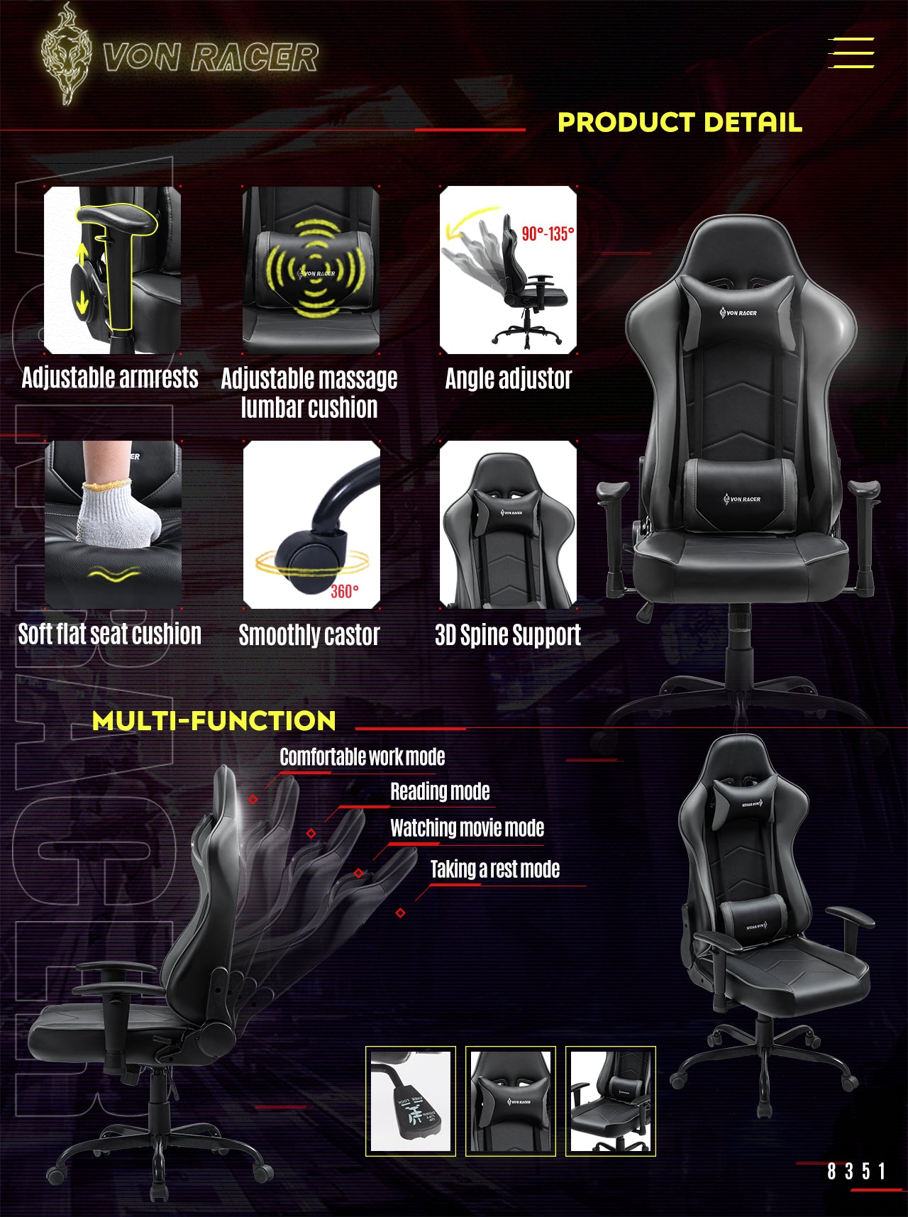 VON RACER Gaming Chair ADDAX Series Ergonomic gray gaming desk chair features