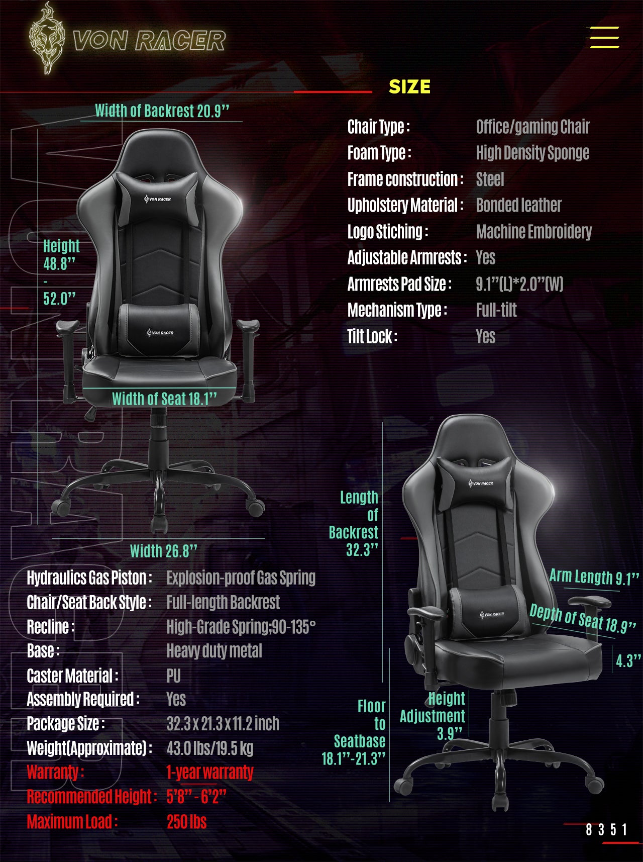 VON RACER Gaming Chair ADDAX Series Ergonomic gray gaming desk chair specification