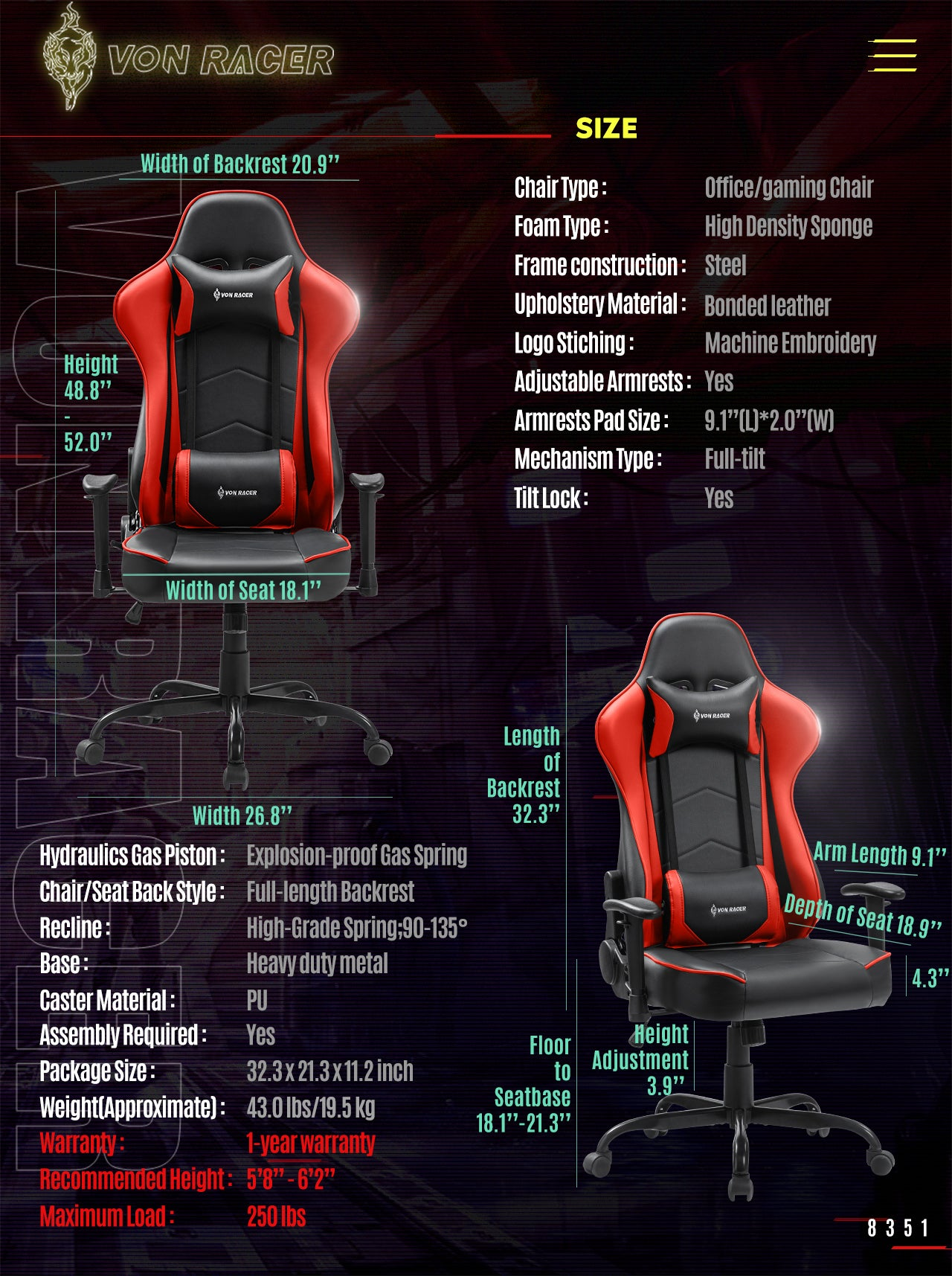 VON RACER Gaming Chair ADDAX Series Ergonomic red gaming desk chair specification