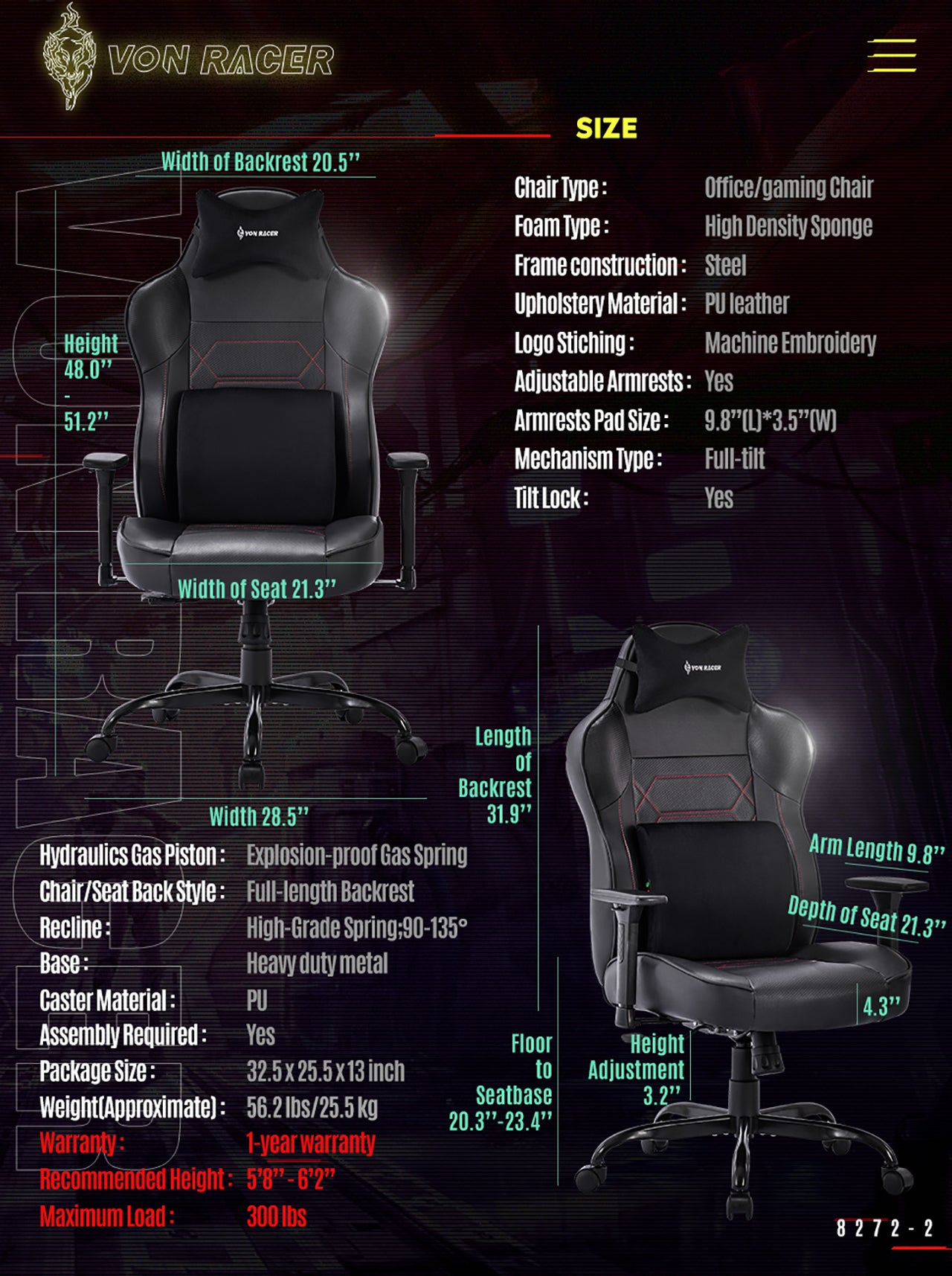 VON RACER MASSAGE GAMING CHAIR 8272 BLACK SPECIFICATION