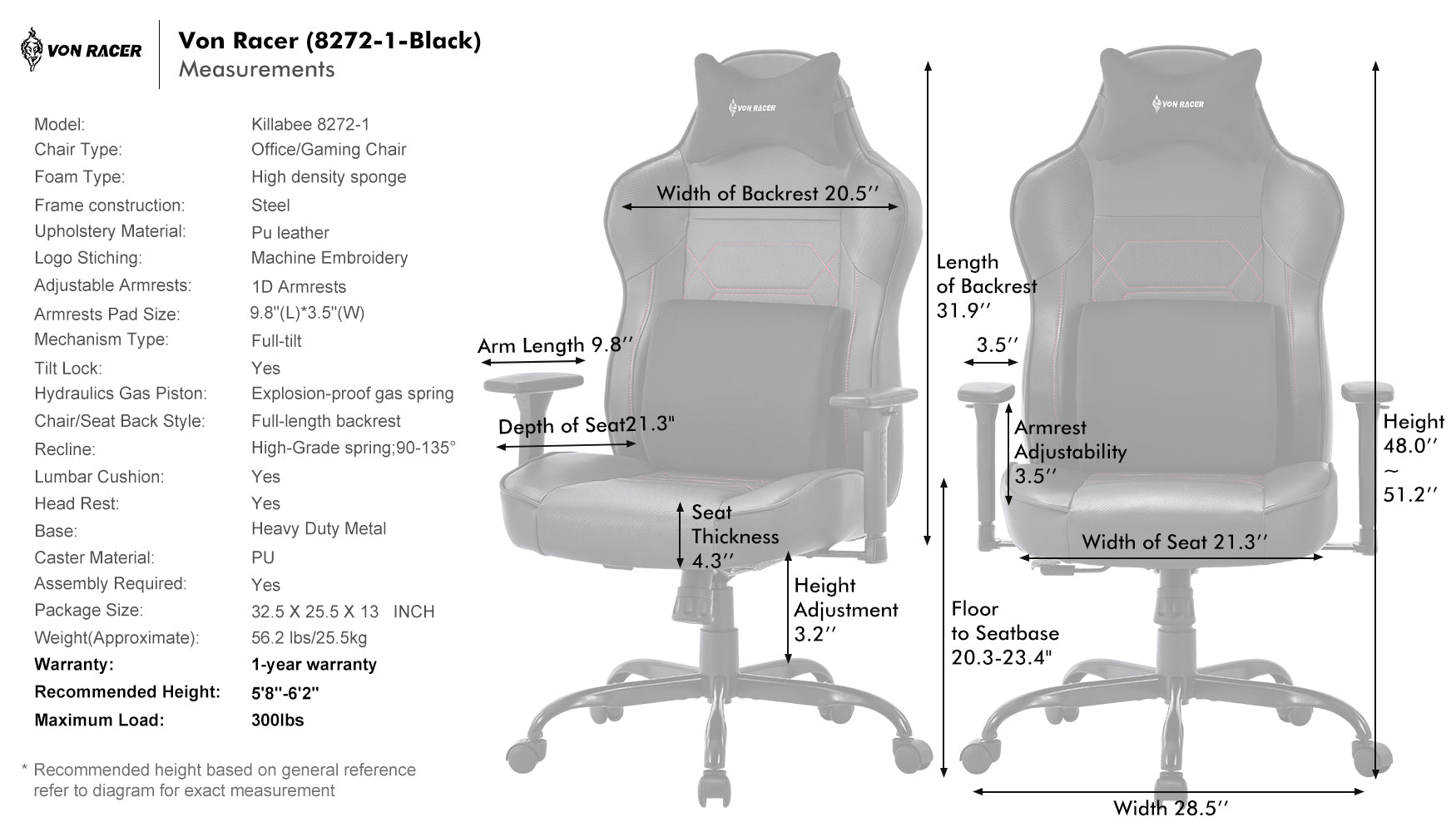 VON RACER 8272 MASSAGE GAMING CHAIR - SPECIFICATION