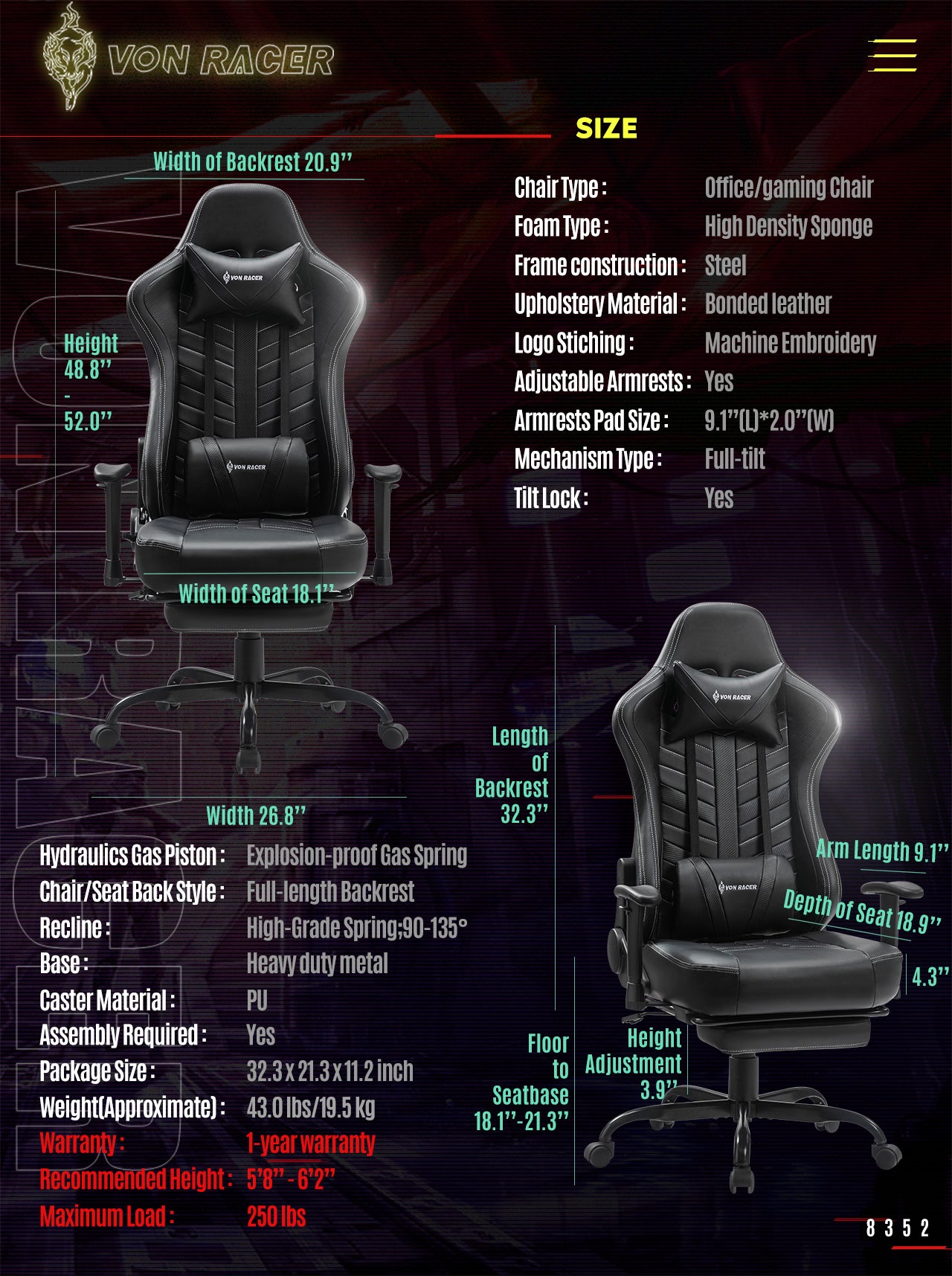 Von Racer Black Gaming Chair BEETLE 2020 Series Specifications